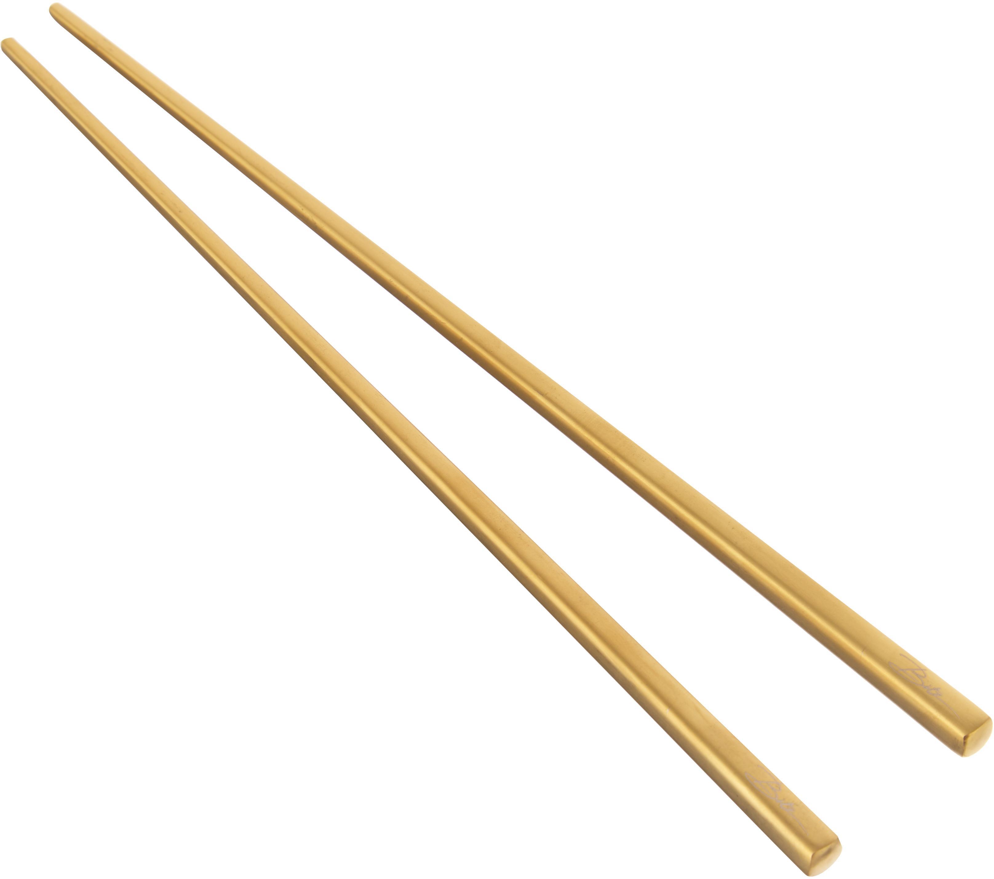 Goldfarbene Essstäbchen Chop mit Ablagen, 2 Paar, Ablage: Steingut, glasiert, Goldfarben, Schwarz, L 26 cm
