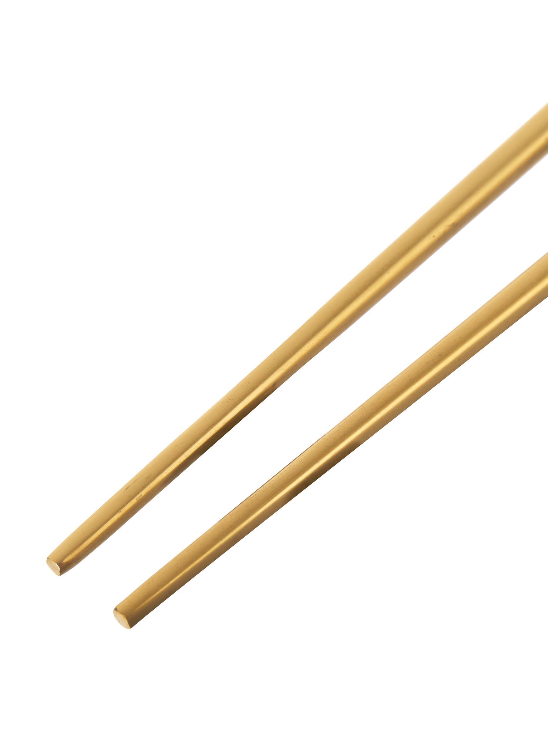 Ensemble de baguettes en acier inoxydable doré Chop, 6élém., Couleur dorée, noir