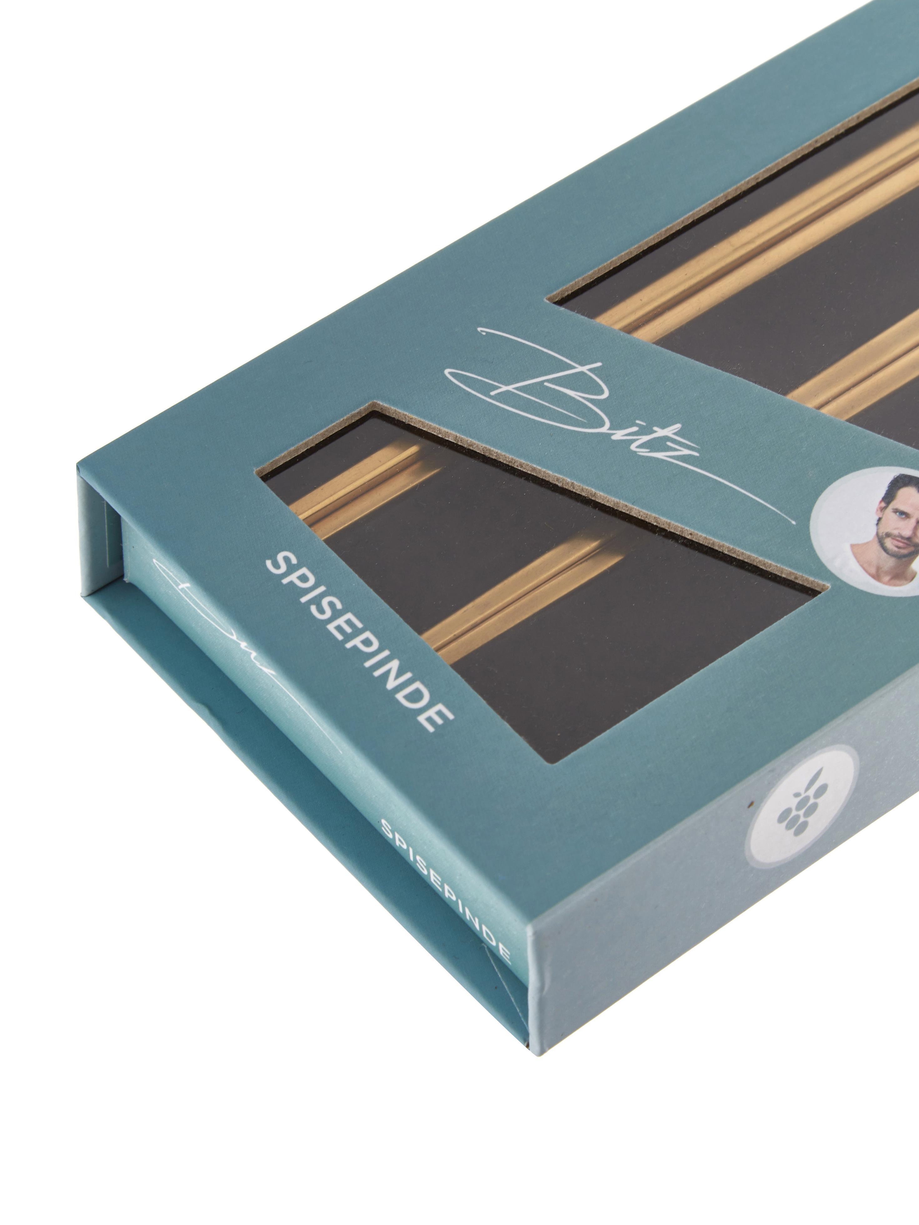 Goldfarbenes Essstäbchen-Set Chop aus Edelstahl, 6-teilig, Ablage: Steingut, glasiert, Goldfarben, Schwarz, L 26 cm