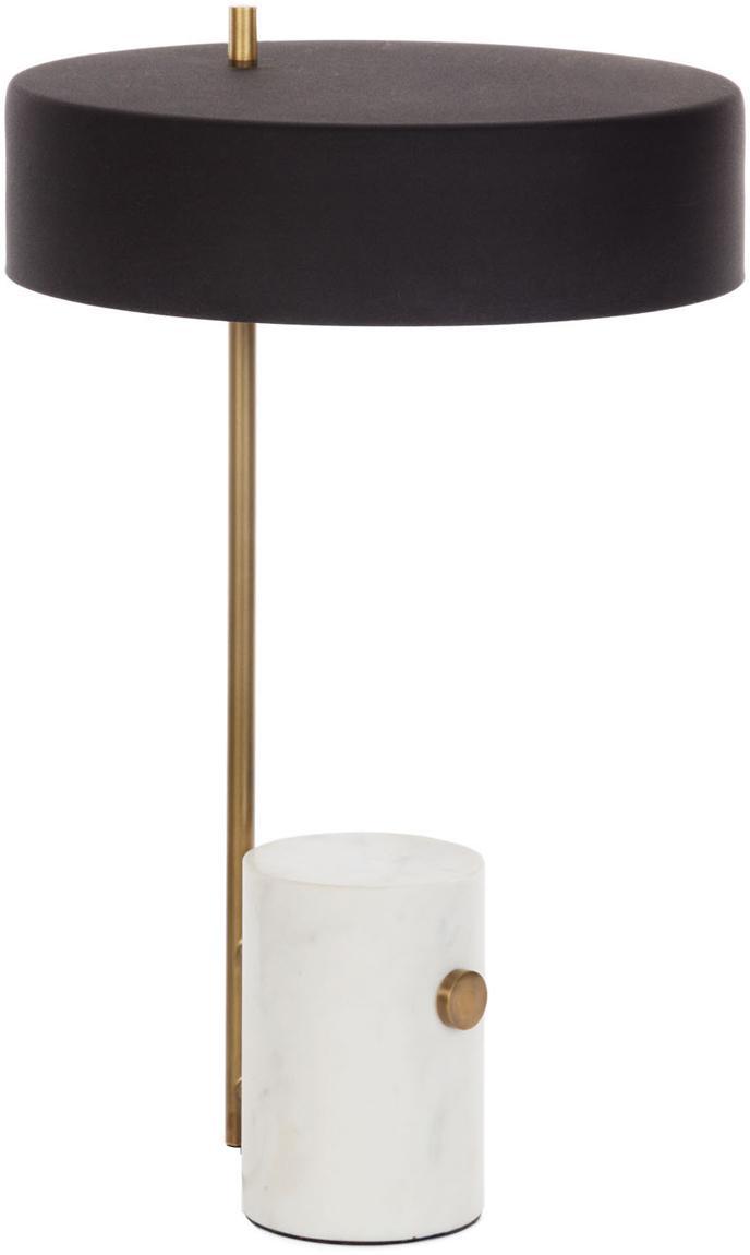 Tischlampe Phant mit Marmorfuss, Lampenschirm: Metall, beschichtet, Weiss, Schwarz, 30 x 53 cm