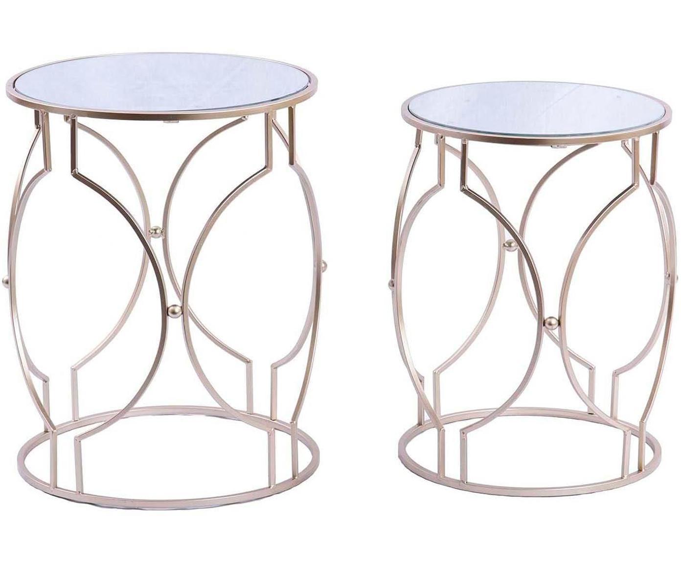 Set de mesas auxiliares Champ, 2pzas., Tablero: espejo de cristal, Dorado, Tamaños diferentes