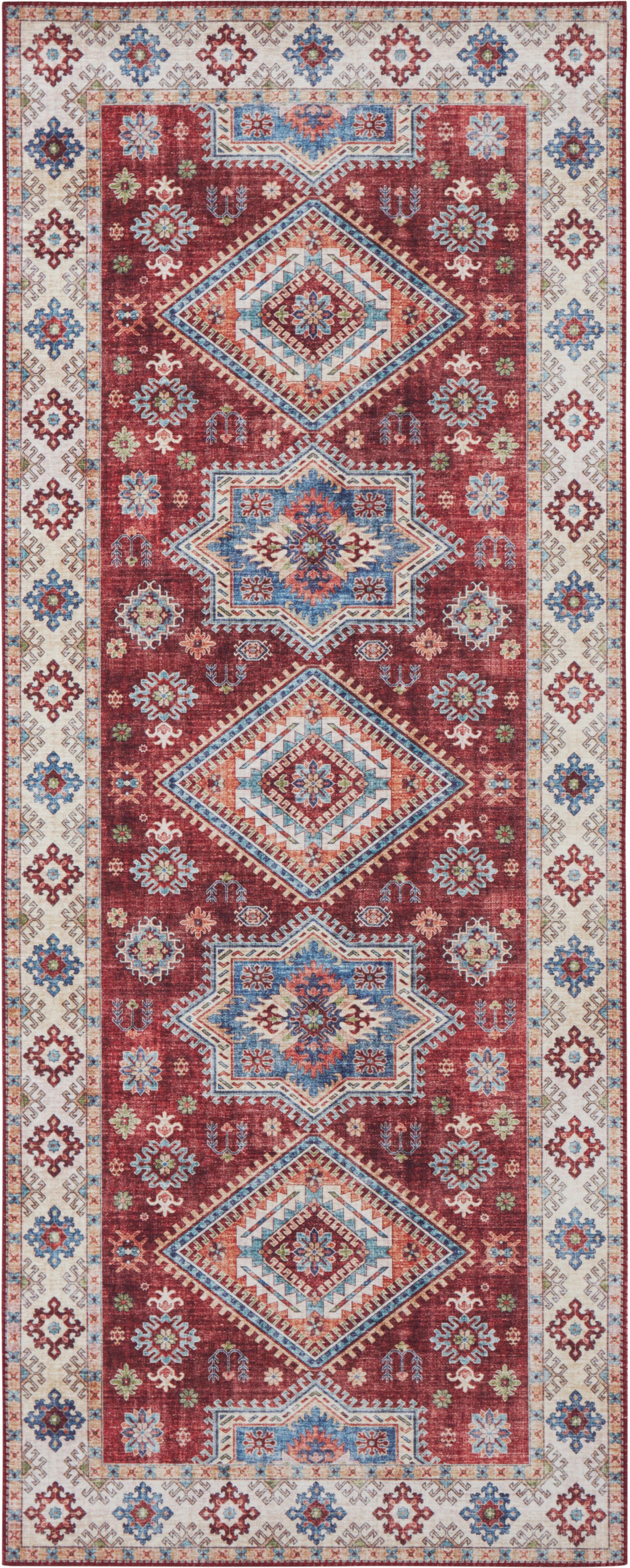 Läufer Gratia im Vintage Style, Rubinrot, Blau, 80 x 200 cm