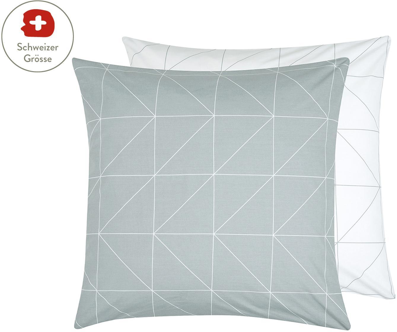 Baumwoll-Wendekissenbezug Marla mit grafischem Muster, Webart: Renforcé Fadendichte 144 , Grau, Weiss, 65 x 65 cm