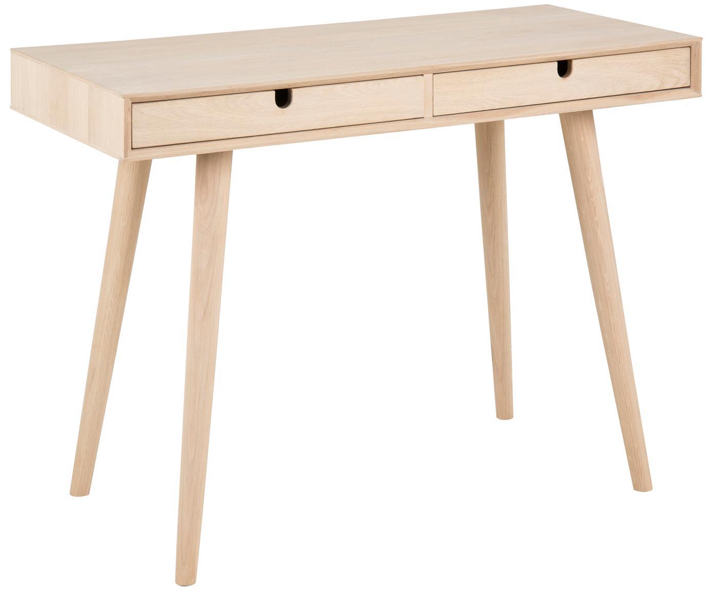 Schmaler Schreibtisch Century aus Eichenholz, Beine: Eichenholz, weiss pigment, Eiche, B 100 x T 45 cm