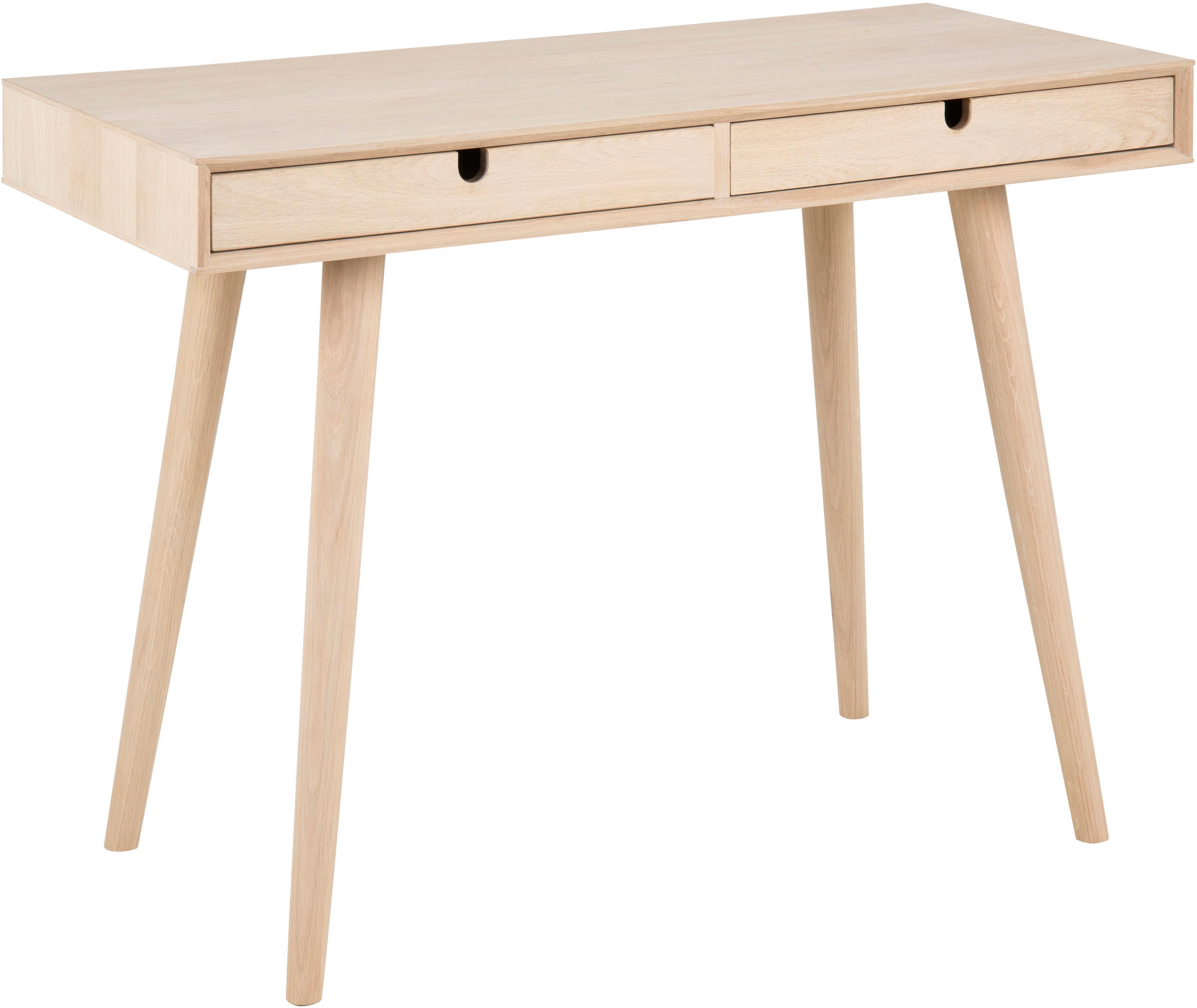 Wąskie biurko z drewna dębowego Century, Nogi: drewno dębowe, bielone, Drewno dębowe, 100 x 74 cm