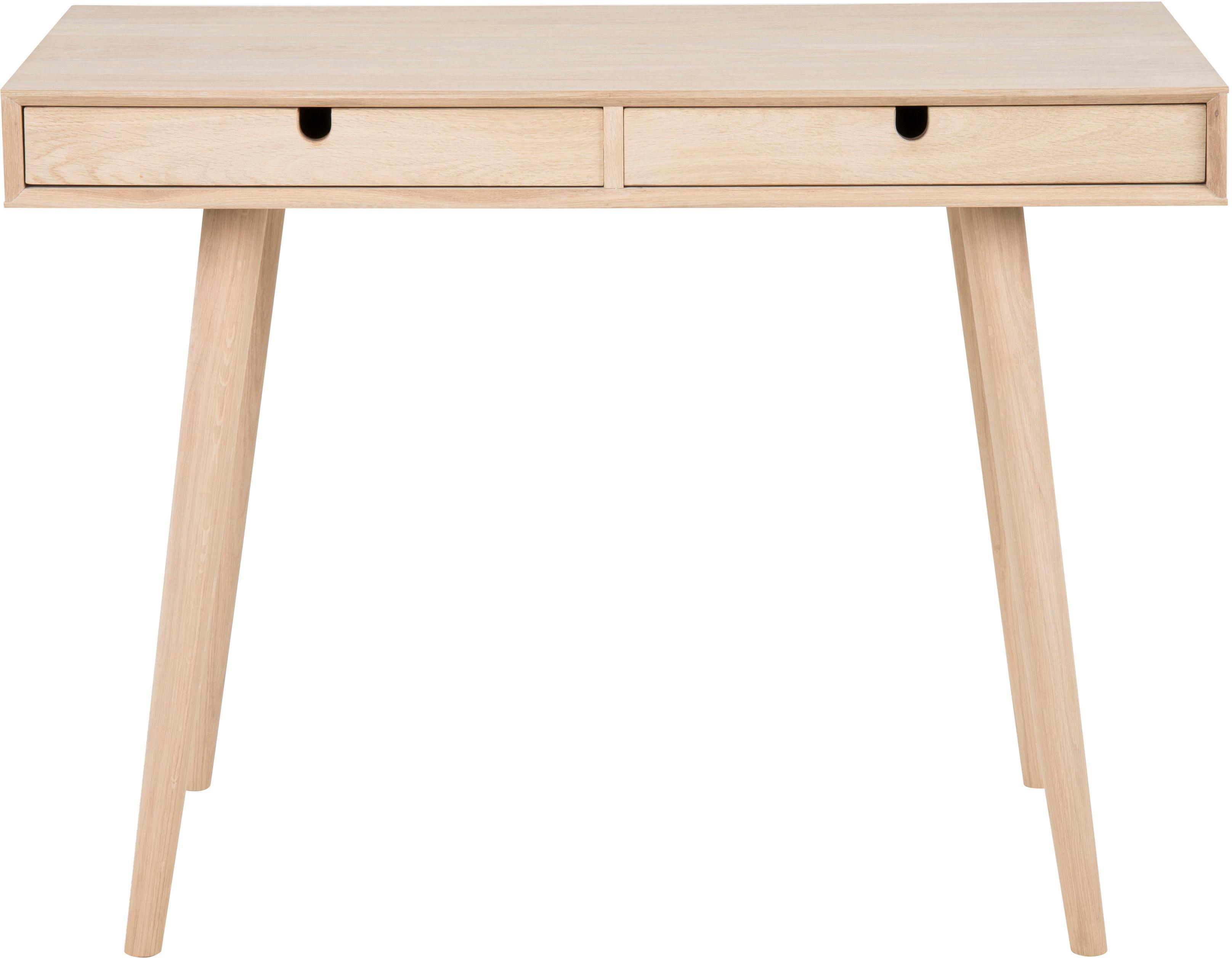 Smal bureau Century van eikenhout, Poten: eikenhout, wit gepigmente, Eikenhoutkleurig, 100 x 74 cm