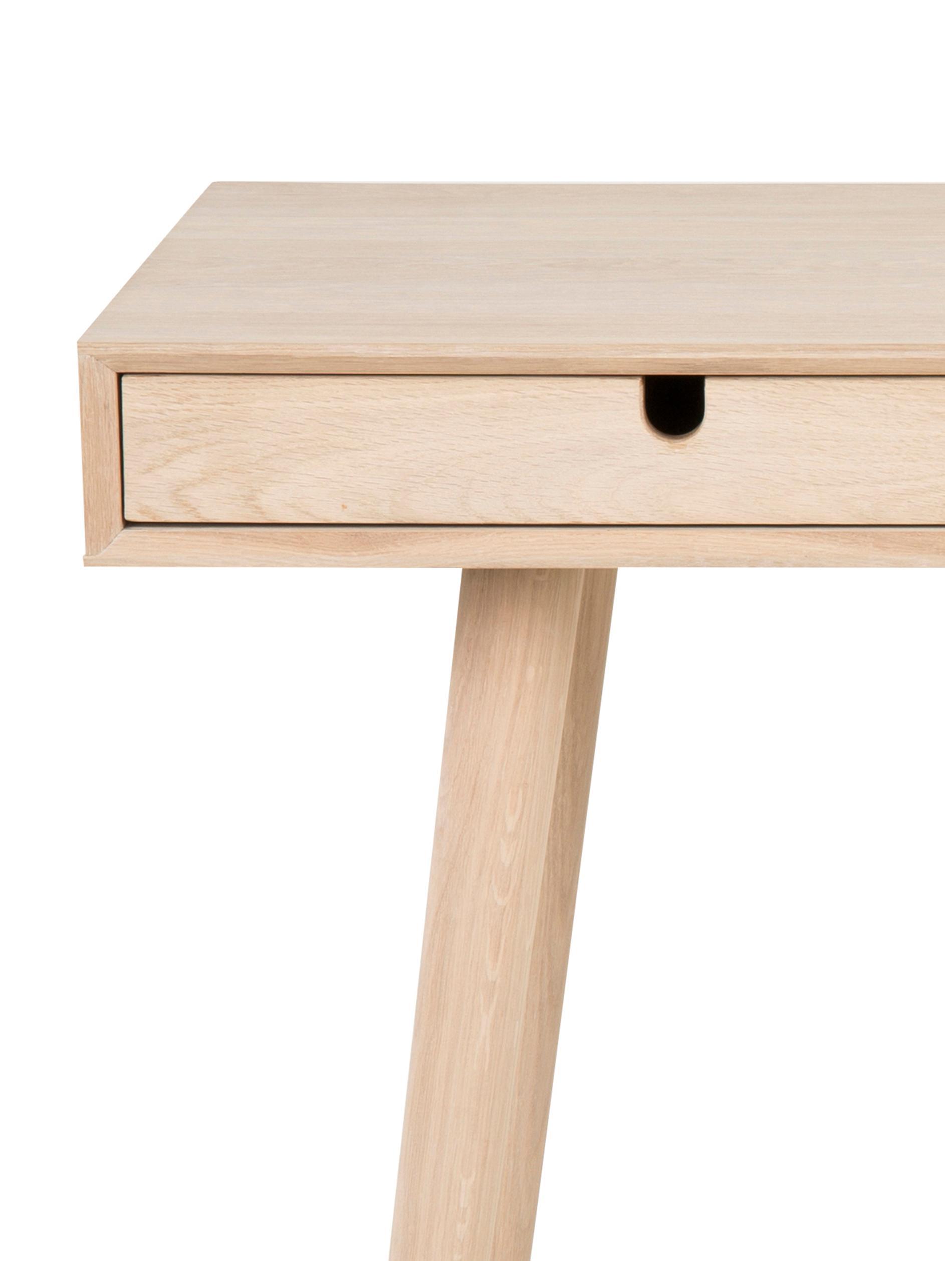 Scrivania in legno di quercia con cassetti Century, Gambe: legno di quercia, bianco , Legno di quercia, Larg. 100 x Alt. 45 cm