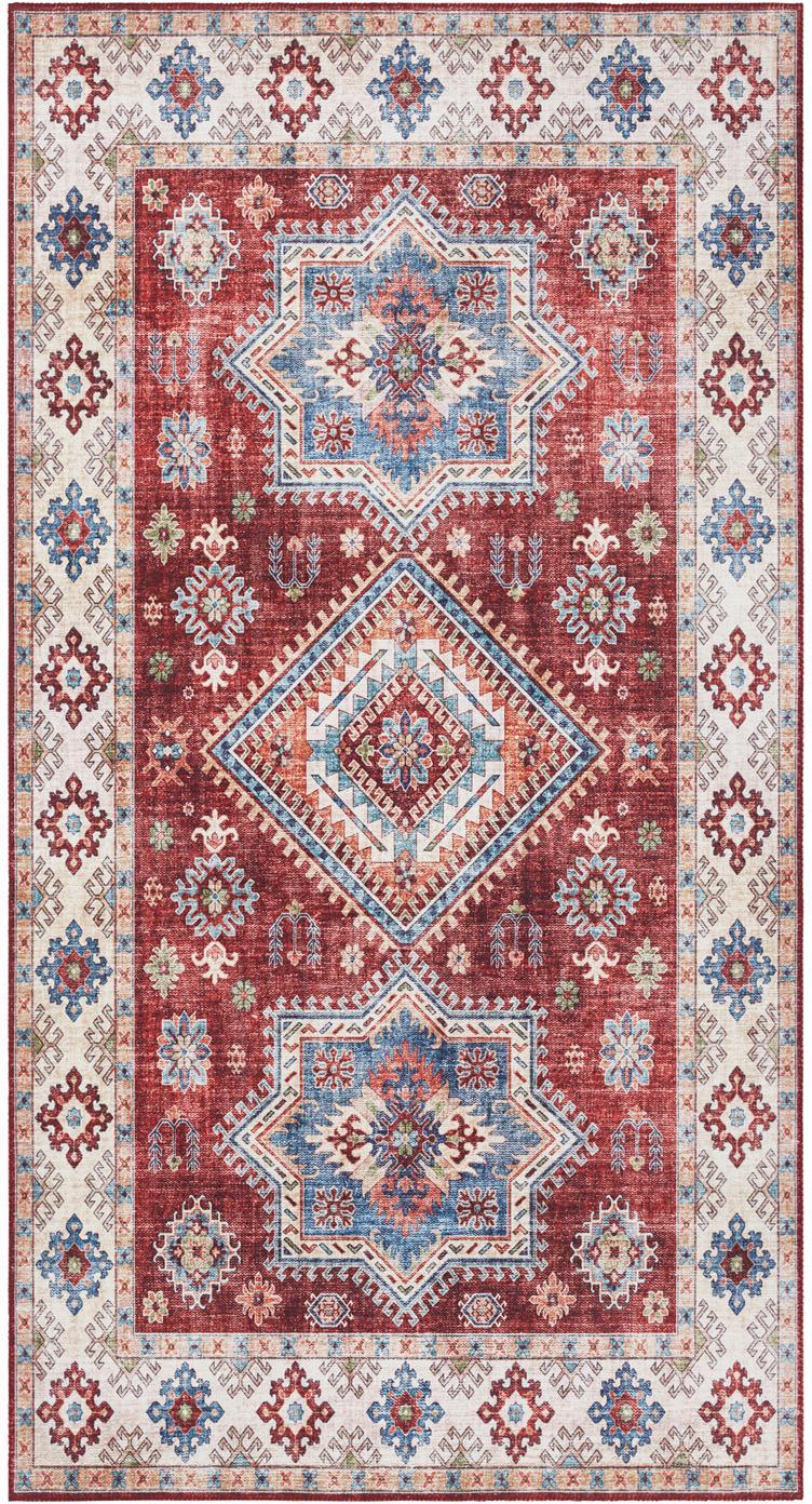Chodnik vintage Gratia, Rubinowy, niebieski, S 80 x D 150 cm (Rozmiar XS)