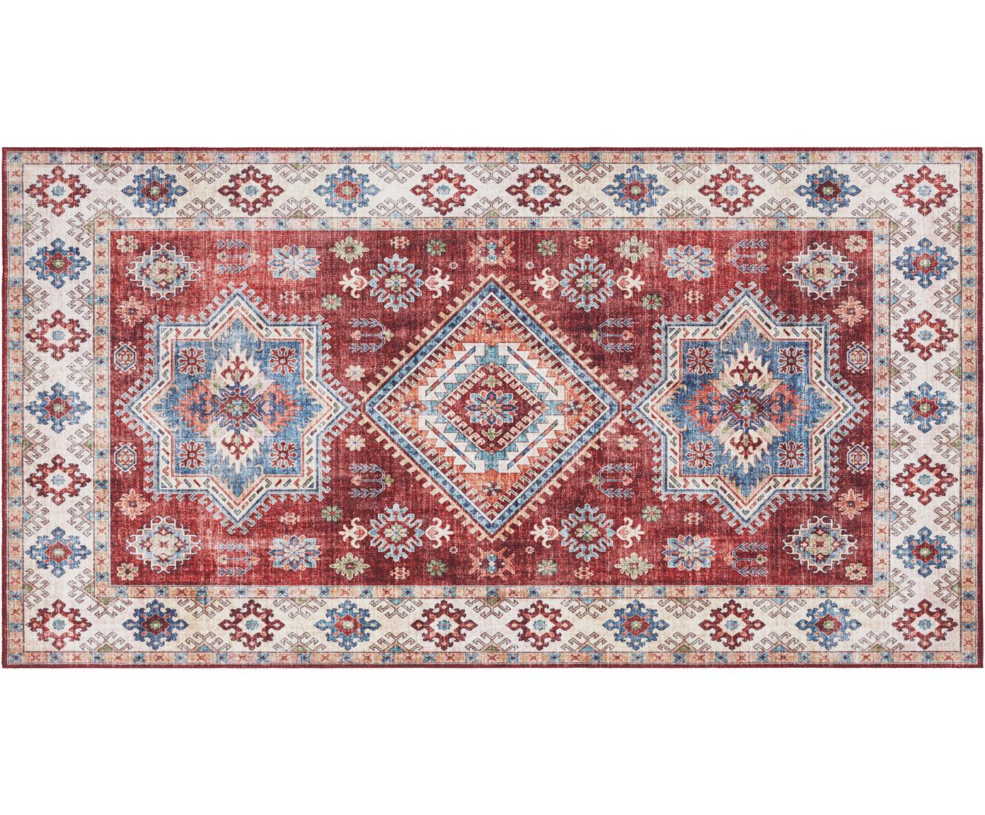 Loper Gratia in vintage stijl, Polyester, Robijnrood, blauw, B 80 x L 150 cm (maat XS)