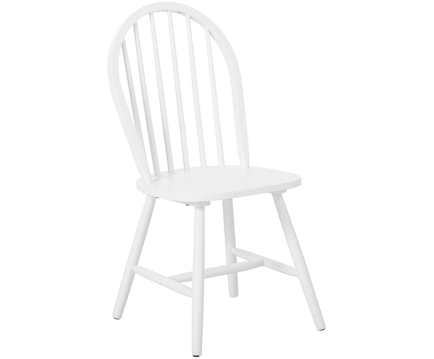 Sedia in legno in design windsor Jonas 2 pz, Legno di caucciù verniciato, Bianco, Larg. 46 x Prof. 51 cm