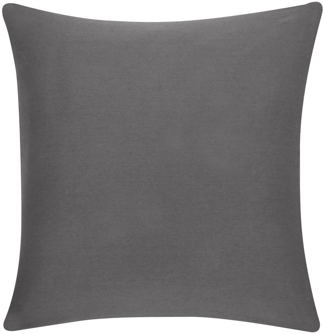 Funda de cojín de algodón Mads, 100%algodón, Gris oscuro, An 40 x L 40 cm