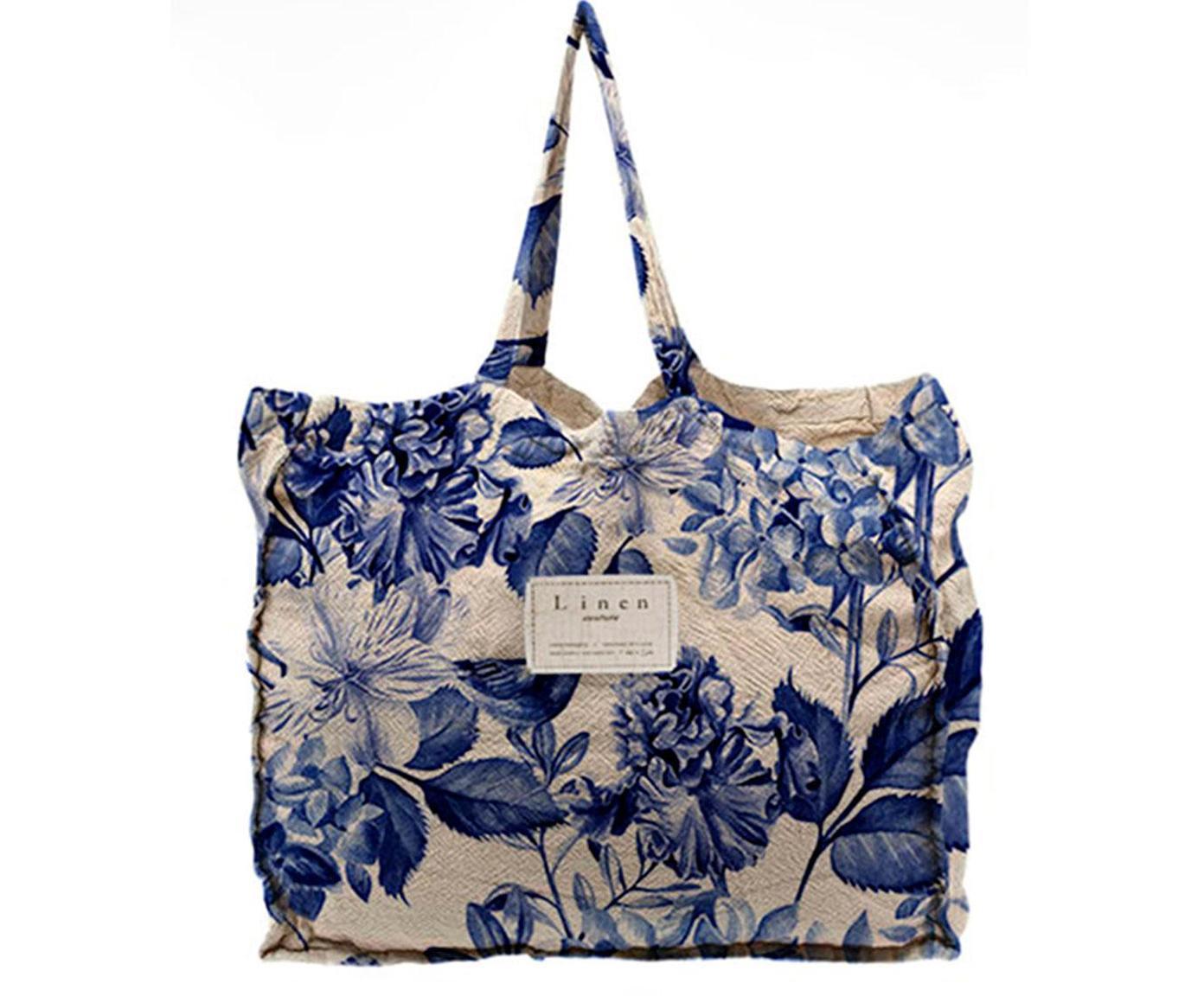 Bolso Blue Flowers, Lino, poliéster, Azul, beige, An 50 x Al 40 cm