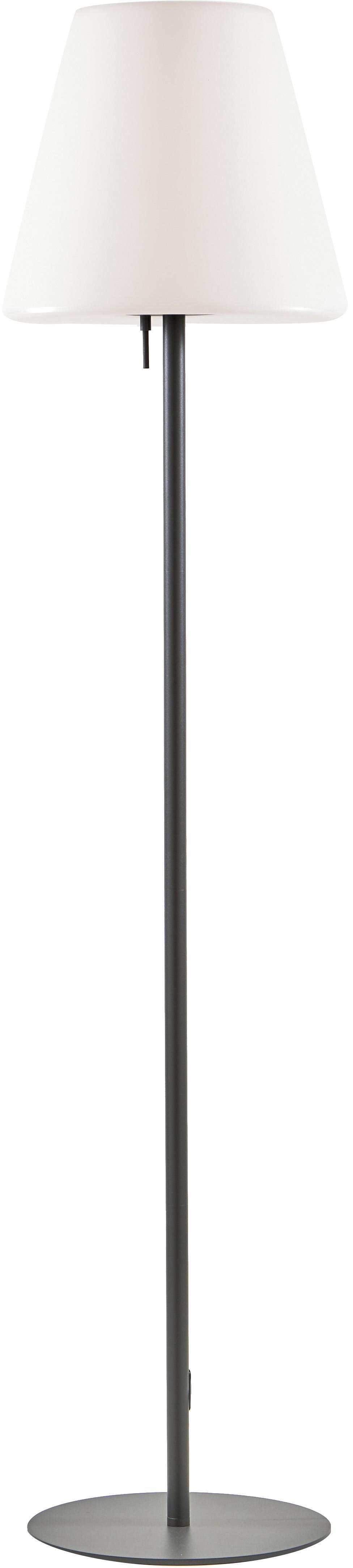 Mobiele outdoor vloerlamp Gaze, Lampenkap: kunststof, Lampvoet: geanodiseerd aluminium, Lampenkap: wit. Lampvoet: donkergrijs, Ø 35 x H 150 cm