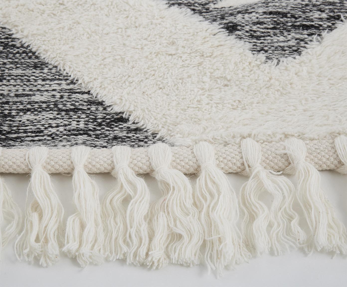 Tappeto in lana taftato a mano Oscar, Vello: 60% lana, 40% cotone, Retro: 100% cotone, Grigio, crema, Larg. 200 x Lung. 300 cm (taglia L)