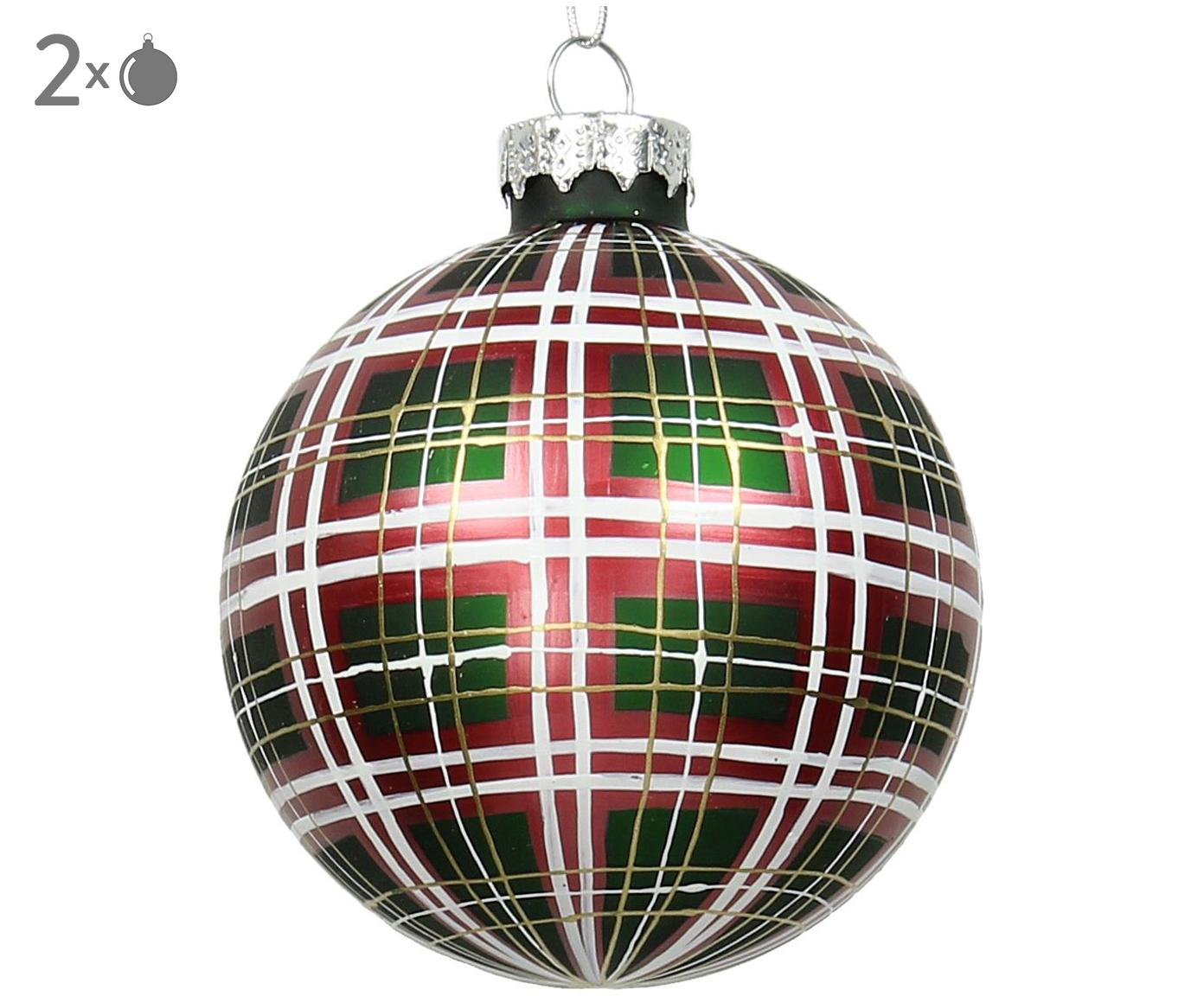 Kerstballen Karo, 2 stuks, Groen, rood, wit, goudkleurig, Ø 9 cm