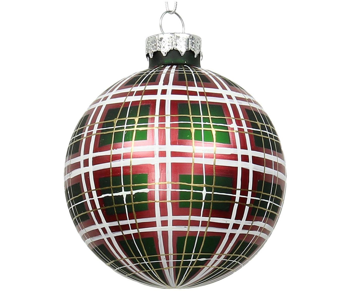 Weihnachtskugeln Karo Ø9cm, 2Stück, Grün, Rot, Weiß, Goldfarben, Ø 9 cm