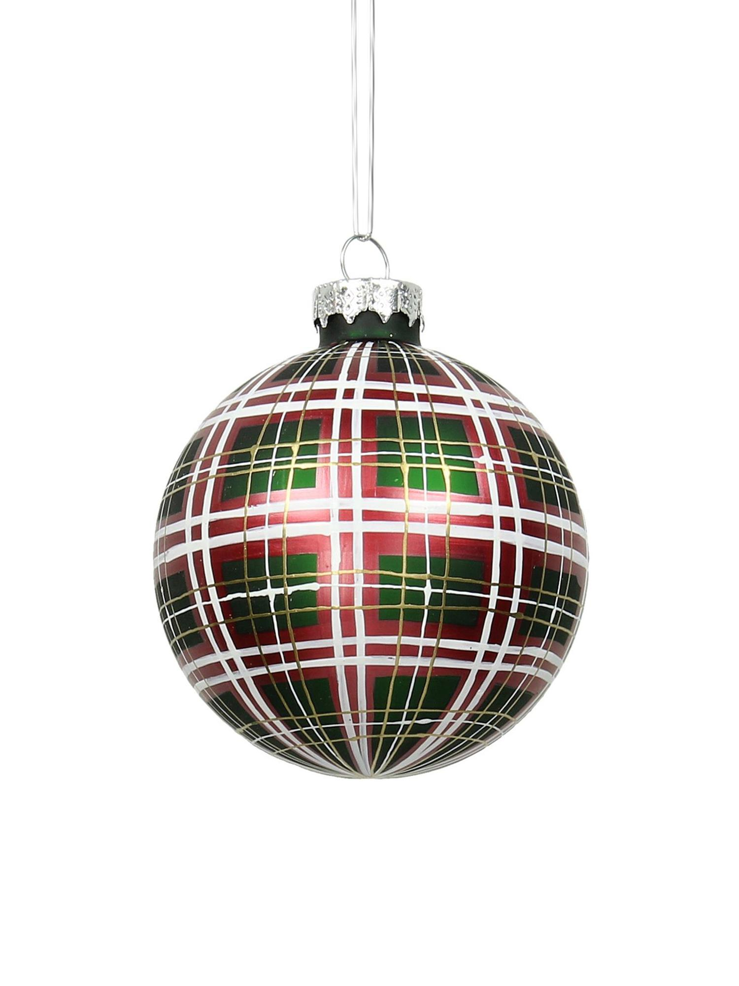 Palline di Natale Quadri 2 pz, Verde, rosso, bianco, dorato, Ø 9 cm