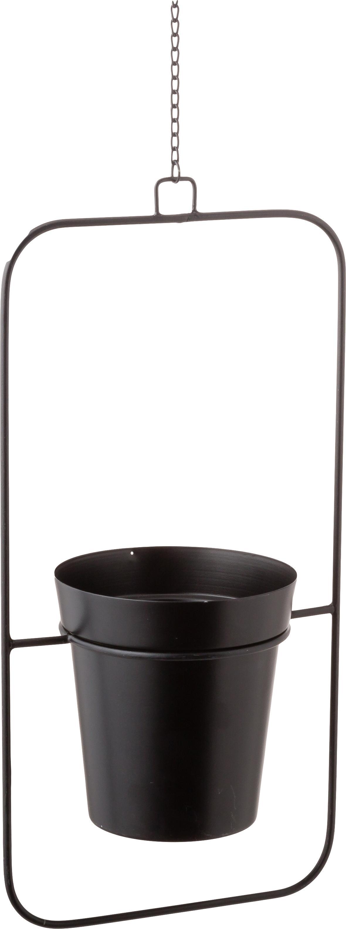Großer hängender Übertopf Undine aus Metall, Metall, lackiert, Schwarz, 21 x 42 cm
