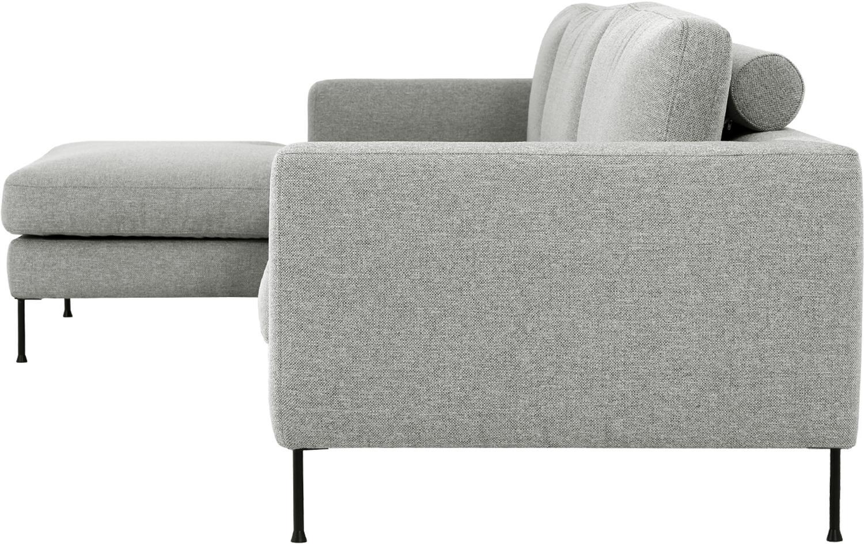 Ecksofa Cucita (4-Sitzer), Bezug: Webstoff (Polyester) Der , Gestell: Massives Kiefernholz, Füße: Metall, lackiert, Webstoff Grau, B 302 x T 163 cm