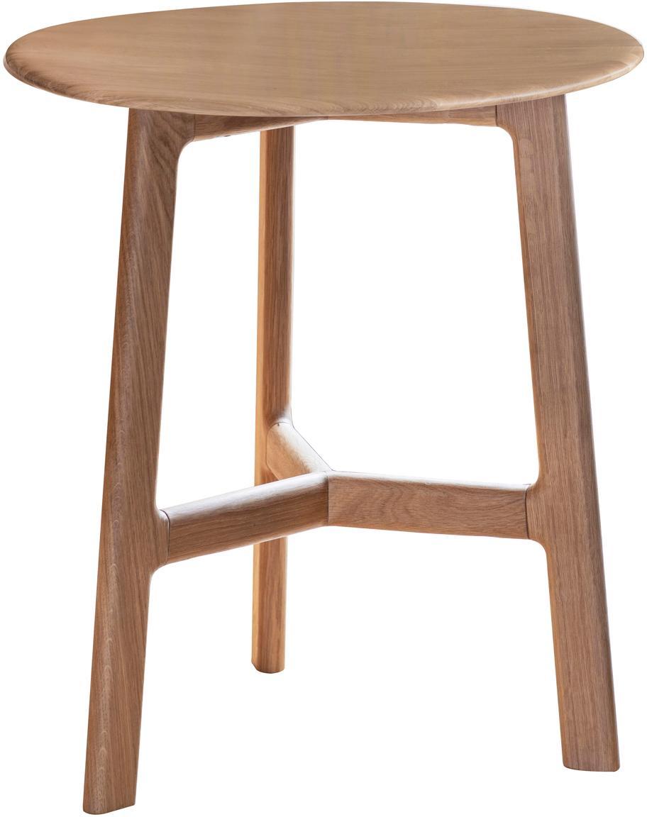 Runder Beistelltisch Madrid aus Eichenholz, Eichenholz, massiv, Eichenholz, Ø 50 x H 58 cm
