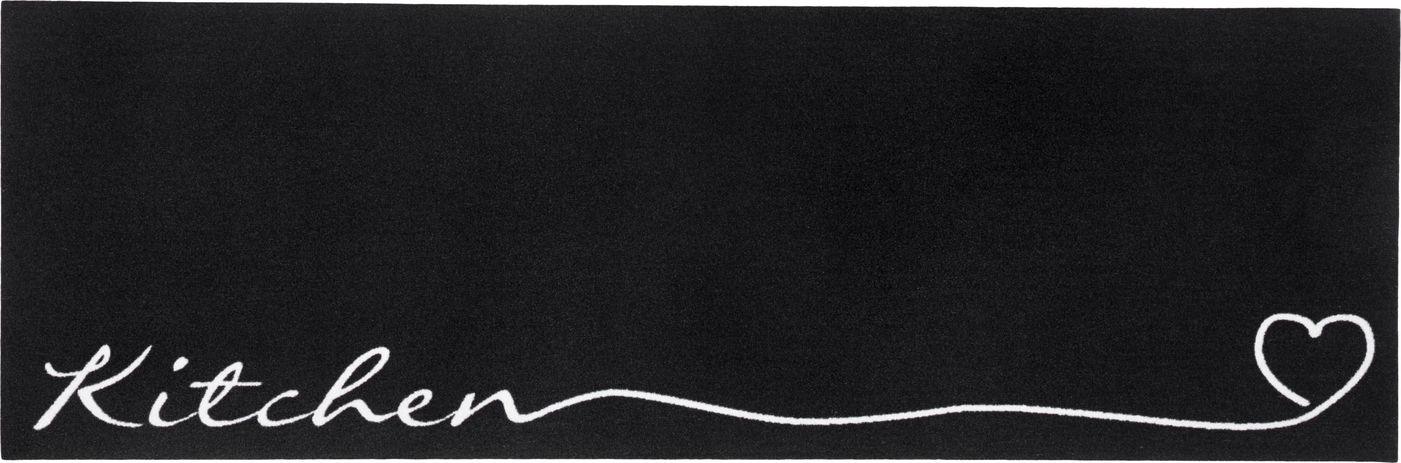 Passatoia da cucina antiscivolo Kitchen, Nero, bianco, Larg. 50 x Lung. 150cm