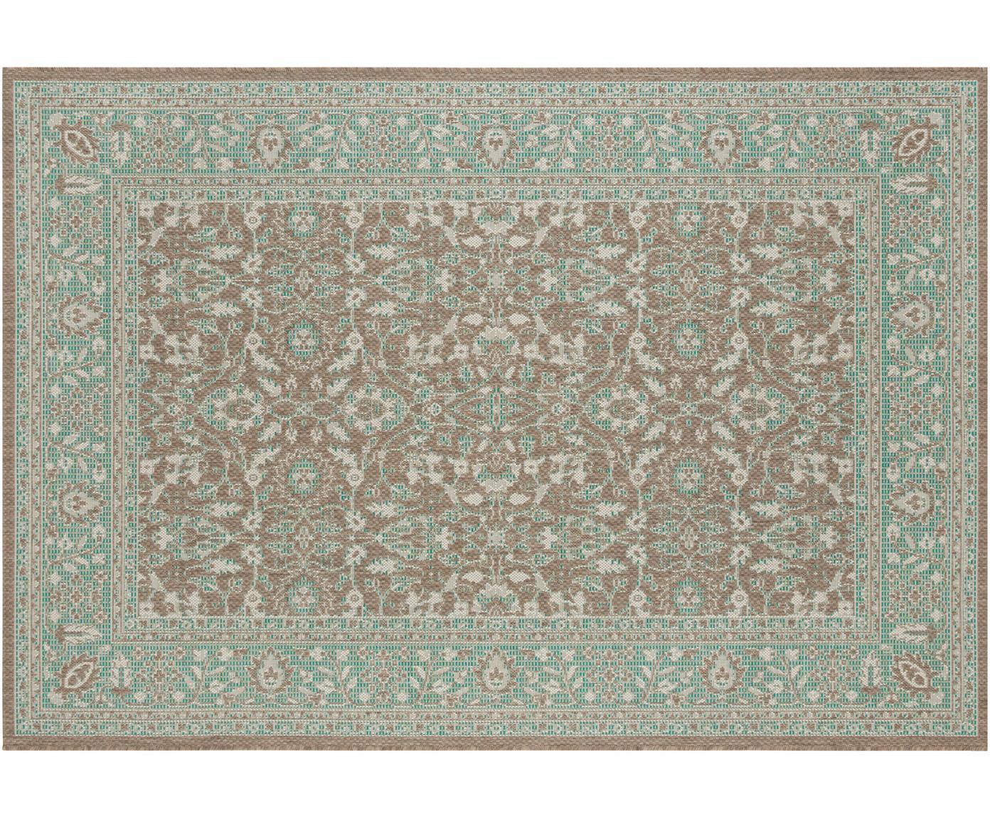 In- & Outdoor-Teppich Konya im Vintage Style, 100% Polypropylen, Grün, Taupe, B 140 x L 200 cm (Größe S)