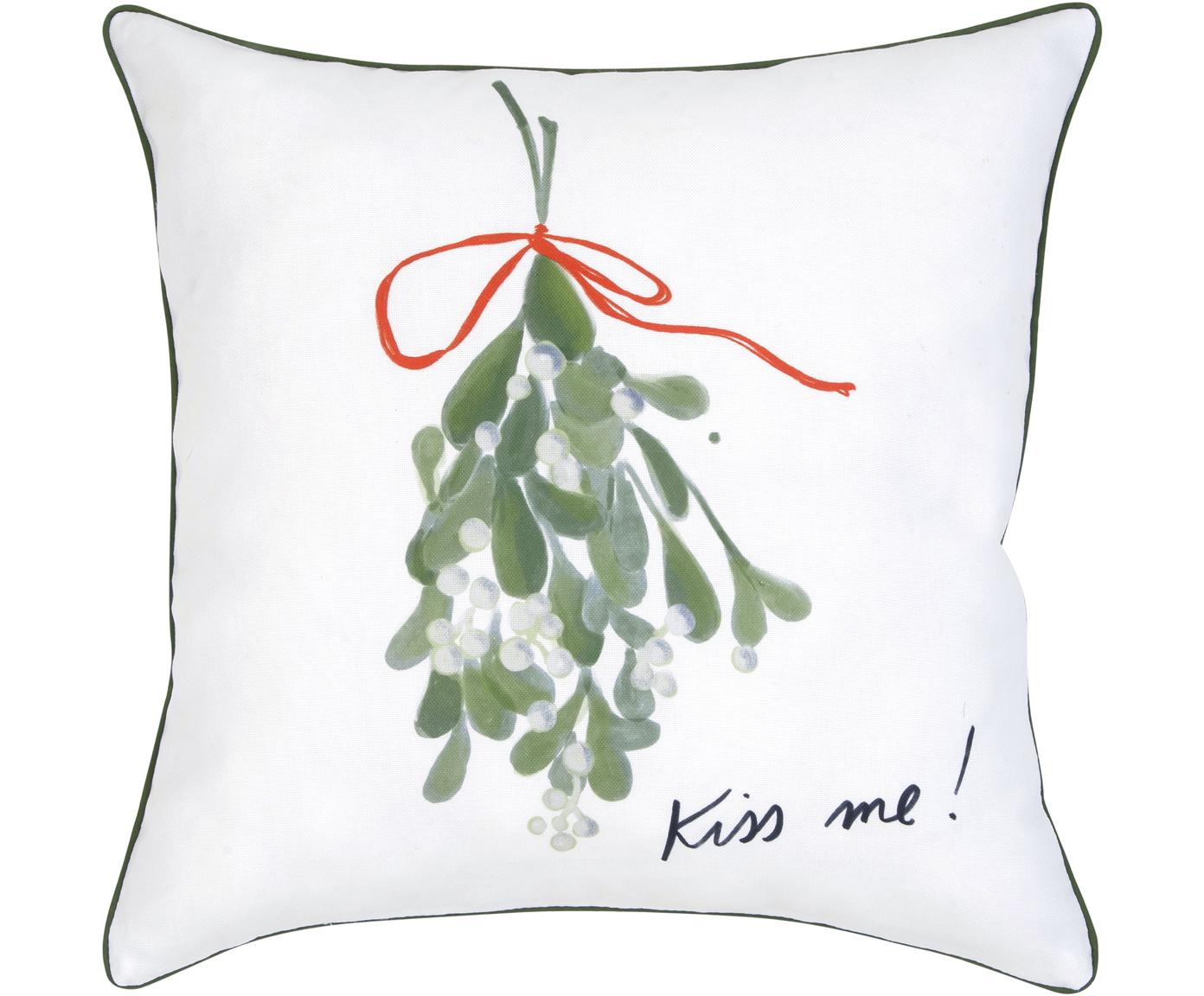 Designer Kissenhülle Kiss Me von Kera Till, 100% Baumwolle, Kissen: MehrfarbigKederumrandung: Grün, 40 x 40 cm