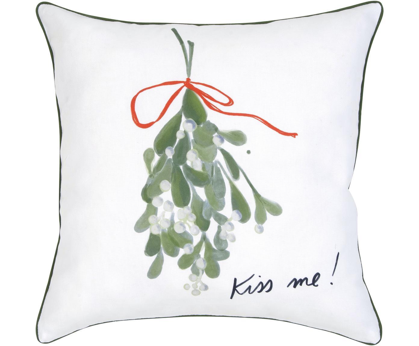 Kissenhülle Kiss Me, 100% Baumwolle, Kissen: MehrfarbigKederumrandung: Grün, 40 x 40 cm