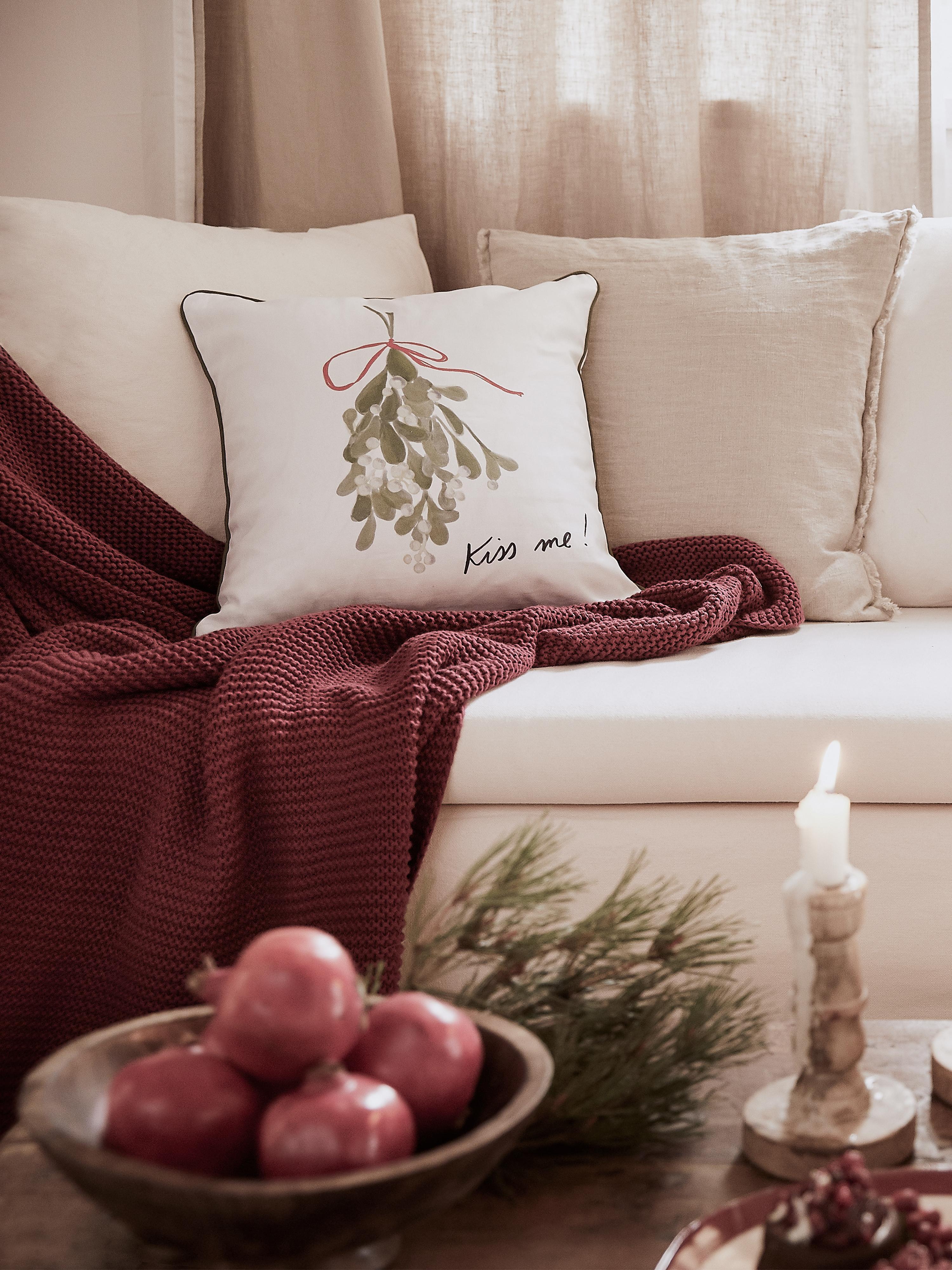 Poszewka na poduszkę Kiss Me, 100% bawełna, Poduszka: wielobarwny Lamówka: zielony, S 40 x D 40 cm