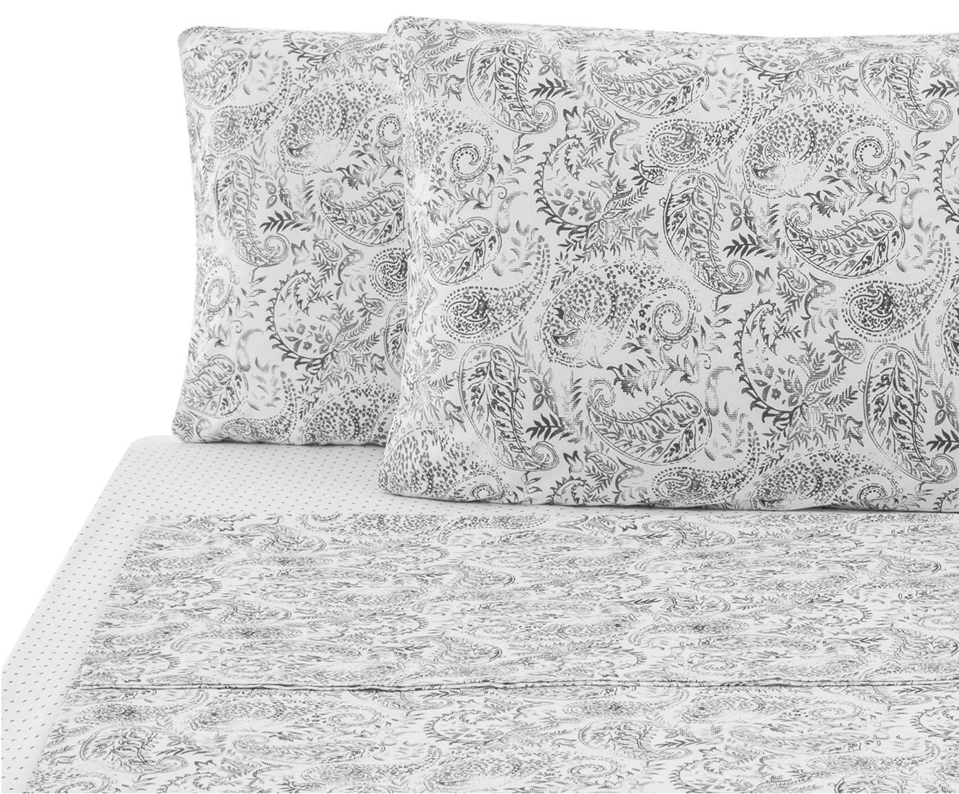 Set lenzuola in cotone ranforce Yumi 4 pz, Tessuto: Renforcé, Grigio, bianco, 290 x 240 cm