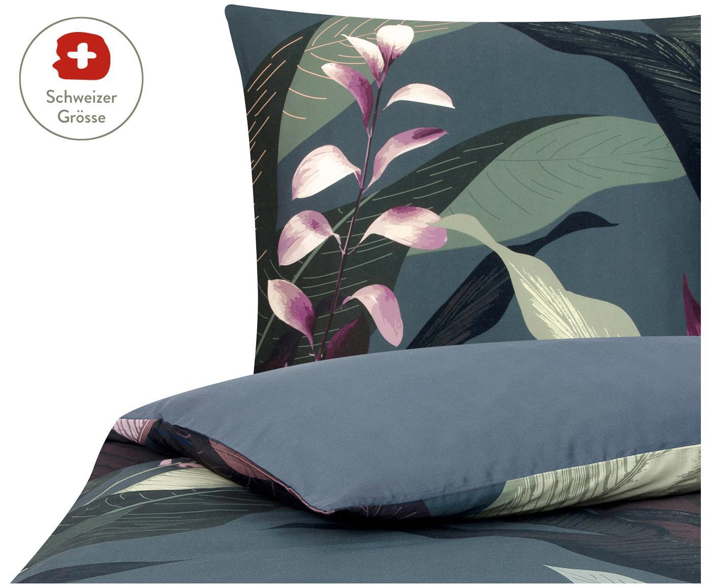 Baumwollsatin-Bettdeckenbezug Flora in Dunkelgrau, Webart: Satin Fadendichte 210 TC, Vorderseite: Mehrfarbig Rückseite: Dunkelgrau, 160 x 210 cm