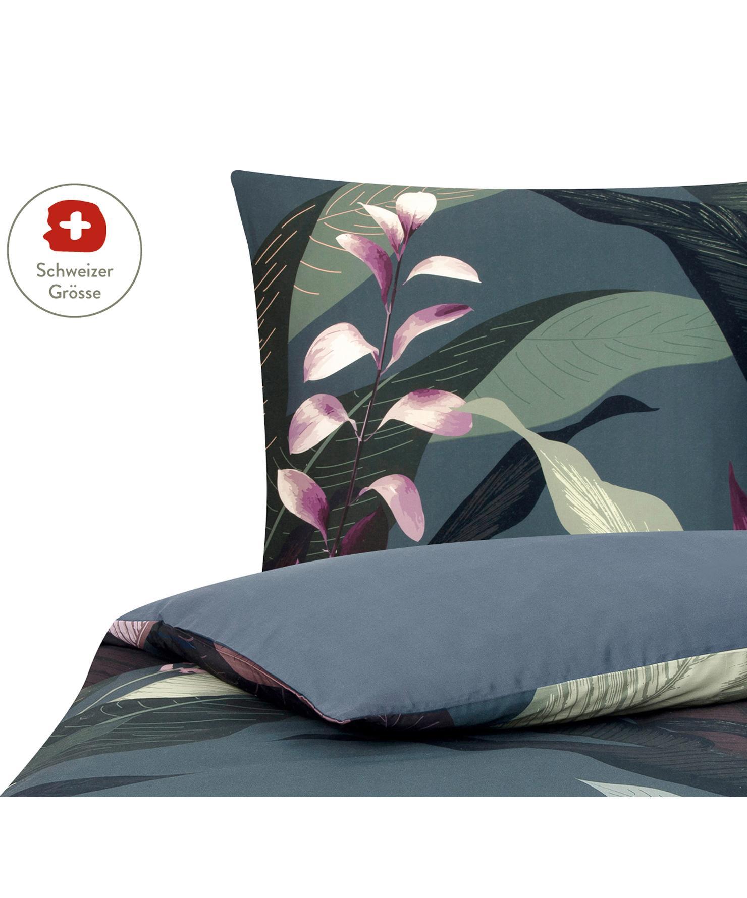 Baumwollsatin-Bettdeckenbezug Flora in Dunkelgrau, Webart: Satin Fadendichte 210 TC,, Vorderseite: Mehrfarbig Rückseite: Dunkelgrau, 160 x 210 cm