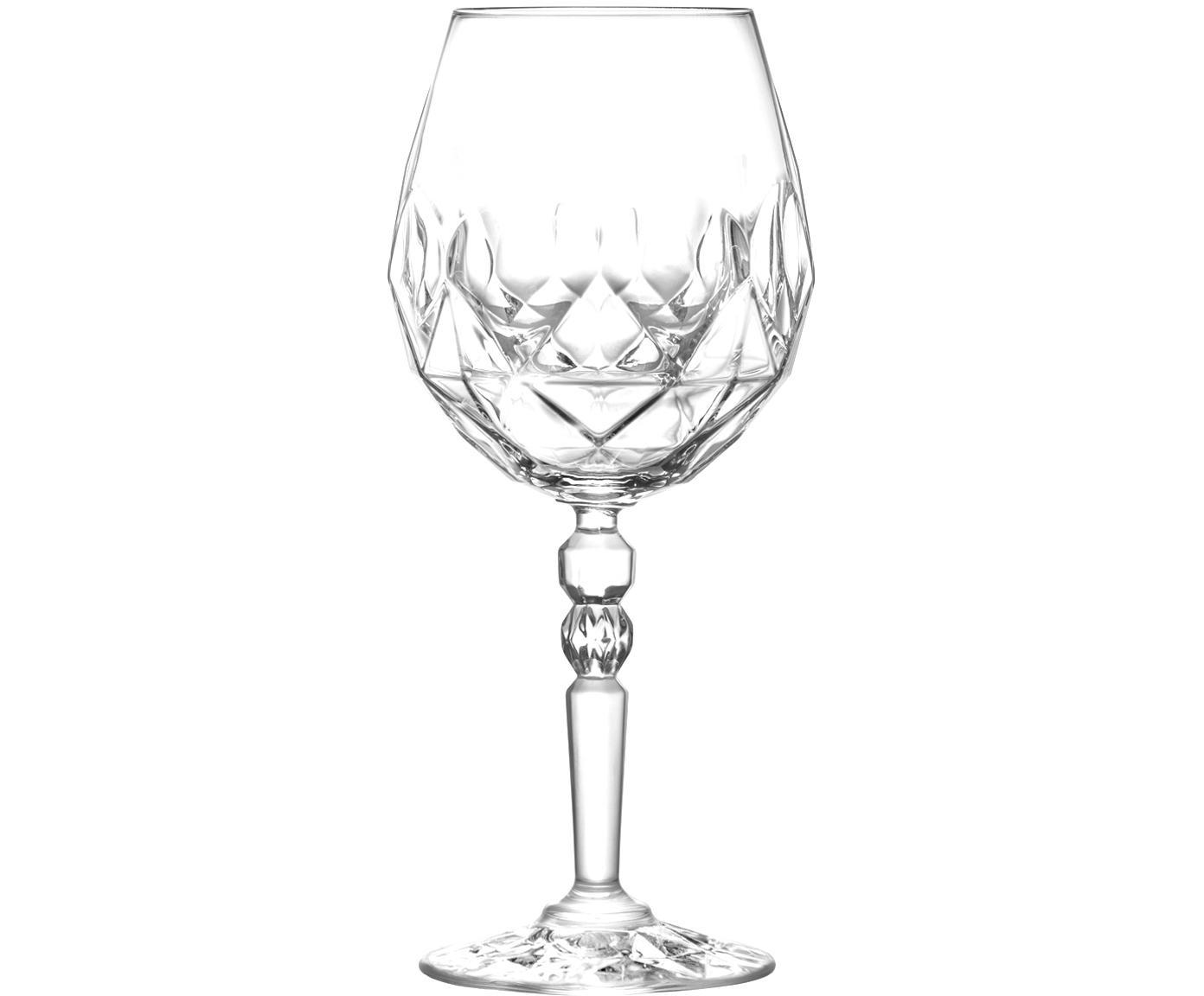 Kristall-Rotweingläser Calicia mit Relief, 6er-Set, Luxion-Kristallglas, Transparent, Ø 10 x H 23 cm