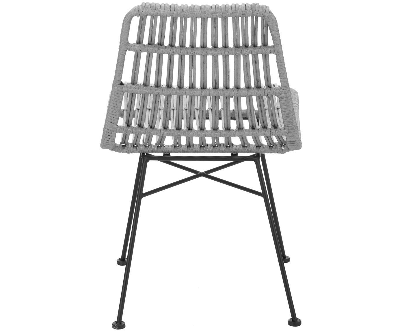 Polyrotan stoelen Costa, 2 stuks, Zitvlak: polyethyleen-vlechtwerk, Frame: gepoedercoat metaal, Zitvlak: grijs, gevlekt. Frame: mat zwart, B 47  x D 62 cm