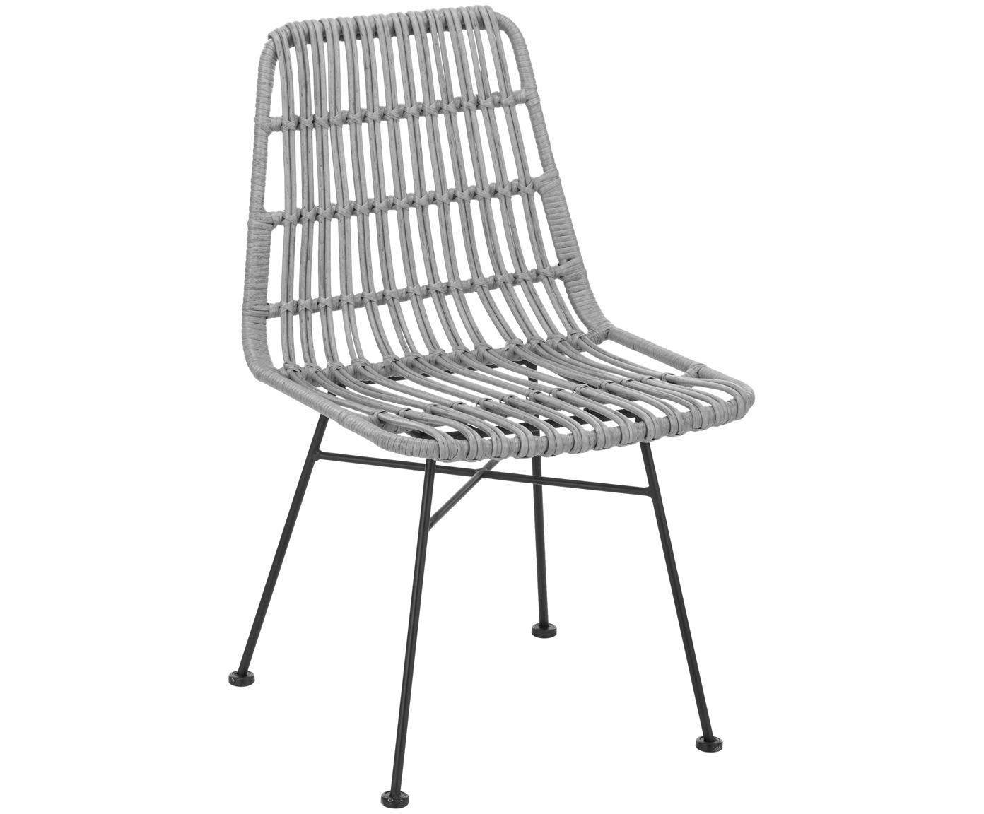 Krzesło z polirattanu Tulum, 2 szt., Stelaż: metal malowany proszkowo, Siedzisko: szary, nakrapiany Stelaż: czarny, matowy, S 47 x G 62 cm