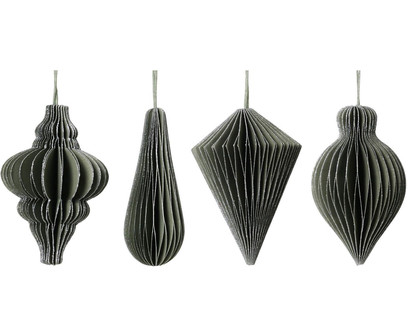 Baumanhänger-Set Winnie, 4-tlg., Papier, Grün, Silberfarben, Ø 5 x H 7 cm