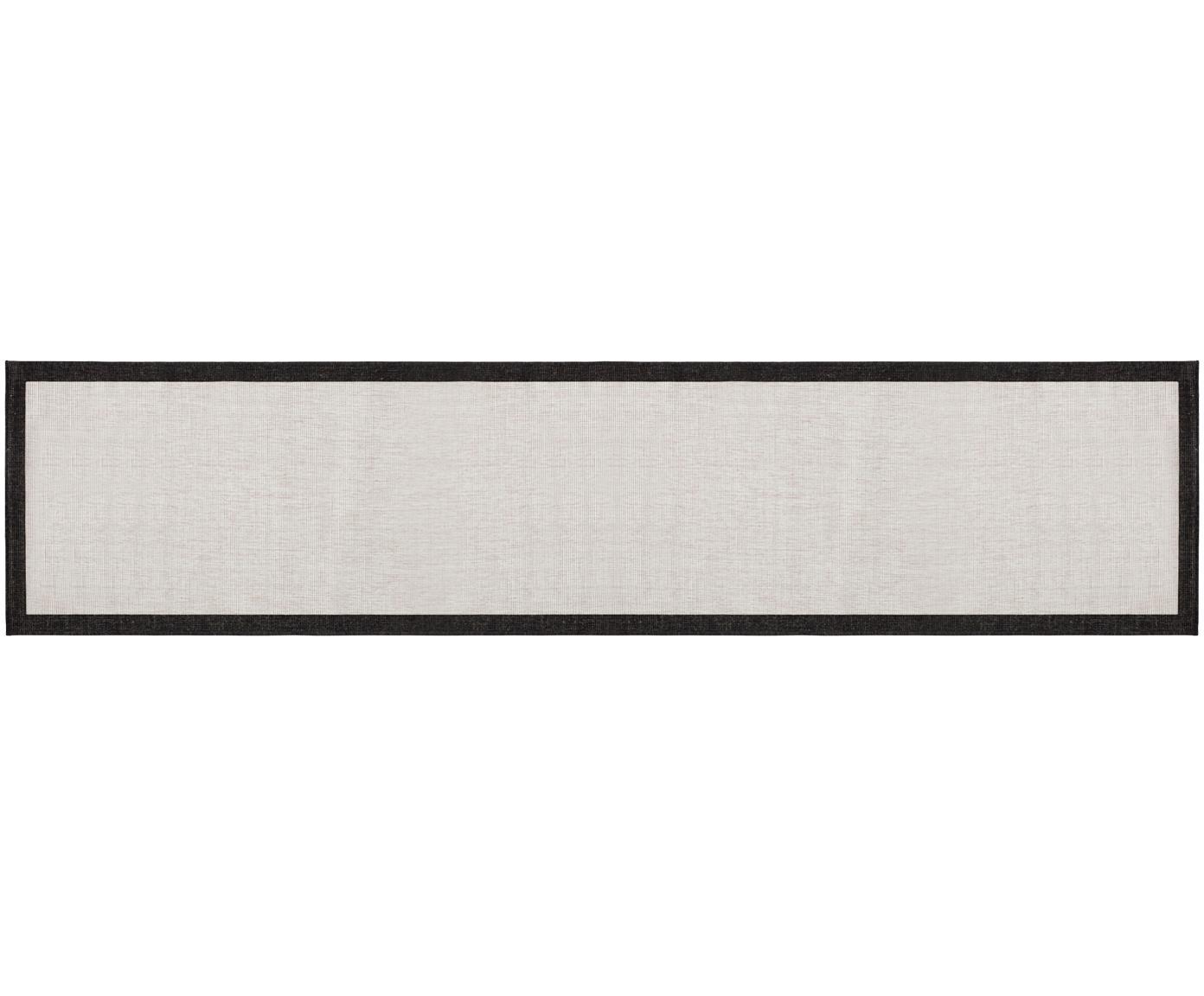Dubbelzijdige in- & outdoor loper Panama, Zwart, crèmekleurig, 80 x 350 cm