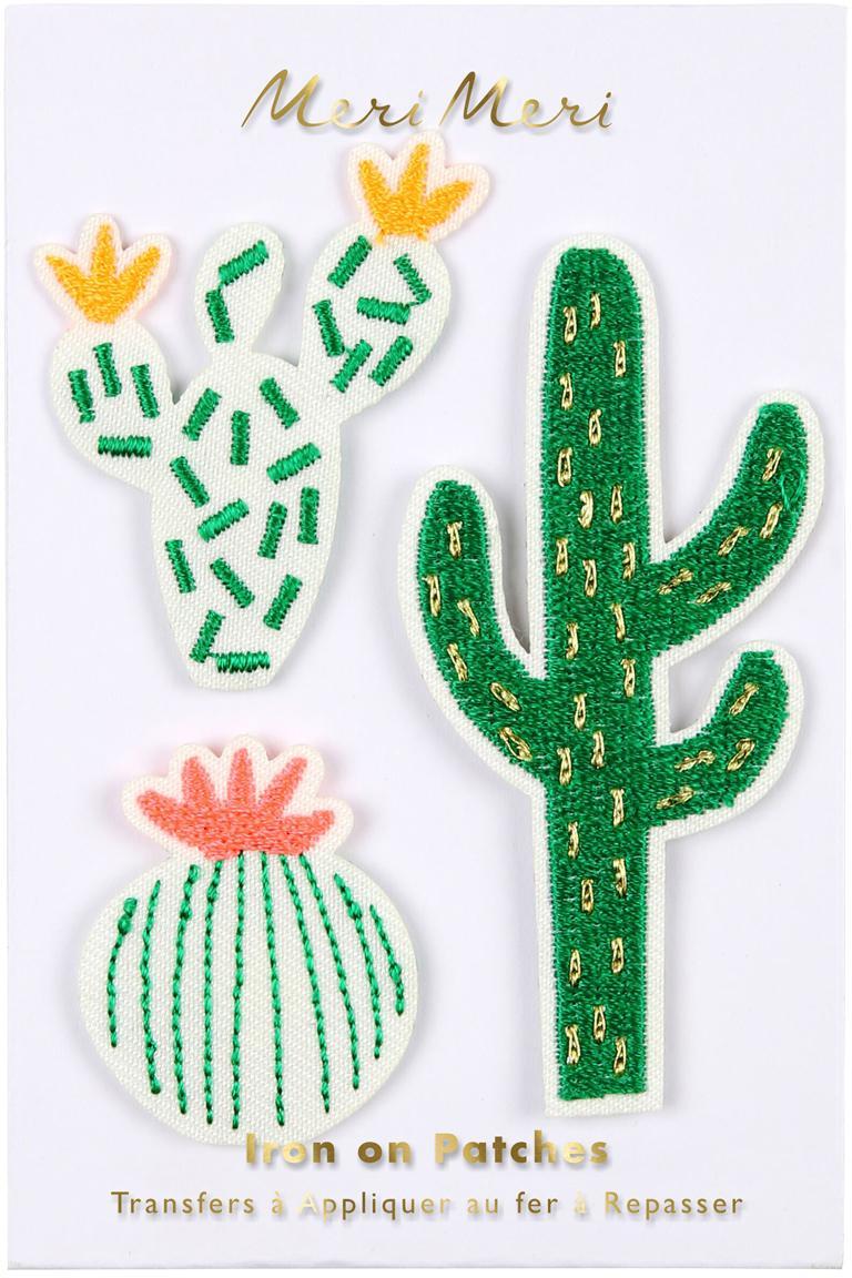 Set de parches Cactus, 3pzas., Algodón de canvas, Verde, blanco, rosa, amarillo, Set de diferentes tamaños