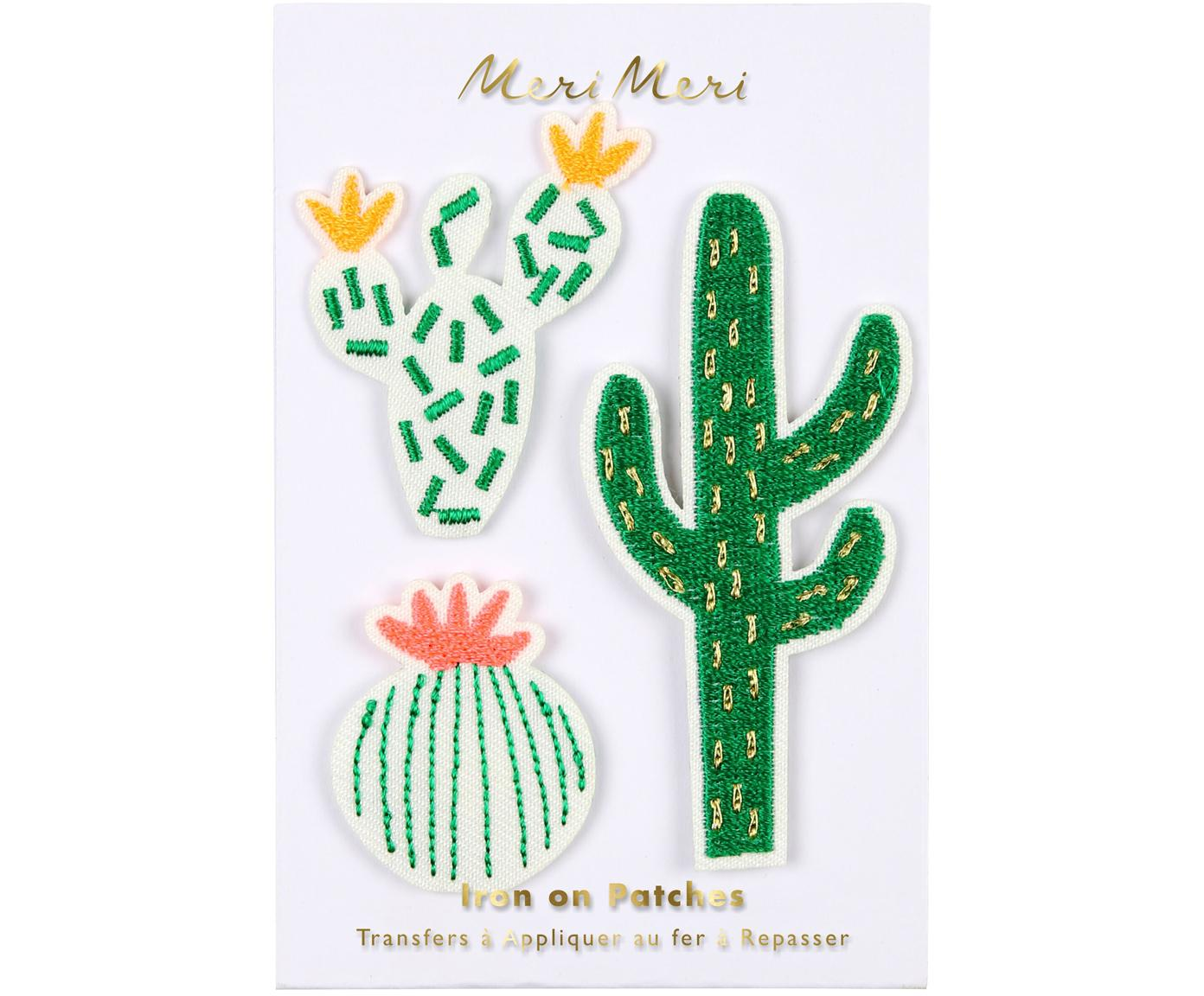 Set toppe termoadesive Cactus 3 pz, Tela di cotone, Verde, bianco, rosa, giallo, Diverse dimensioni