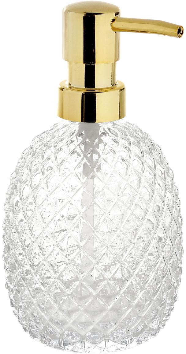 Glazen zeepdisnpenser Diamond, Pompje: gecoat metaal, Transparant, Ø 9 x H 16 cm