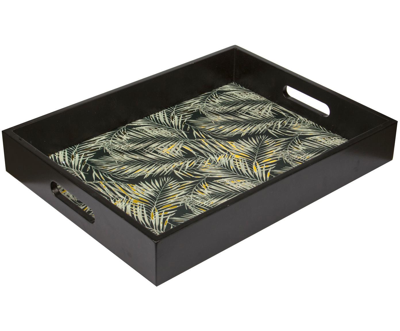Gemustertes Holz-Serviertablett Laguna in Schwarz, Mitteldichte Holzfaserplatte (MDF), lackiert, Schwarz, Beige, Goldfarben, B 41 x T 31 cm