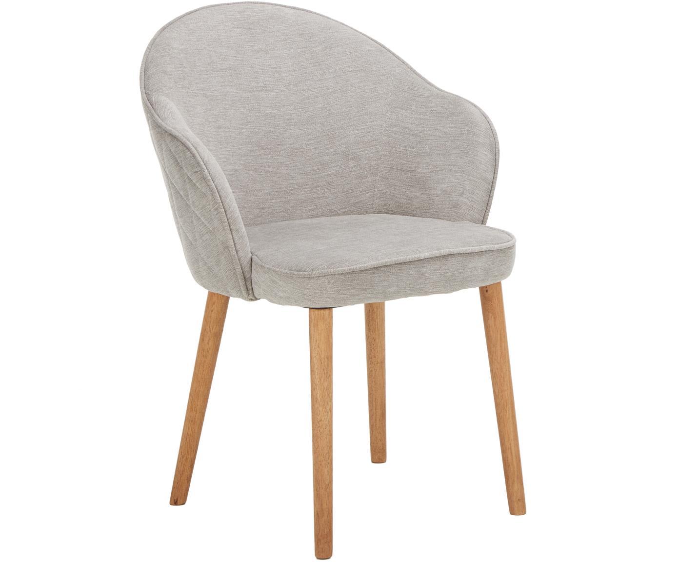 Krzesło z podłokietnikami Holly, Tapicerka: 100%poliester 25000 cy, Nogi: metal mosi, Nogi: drewno kauczukowe, olejow, Jasny szary, S 63 x G 47 cm