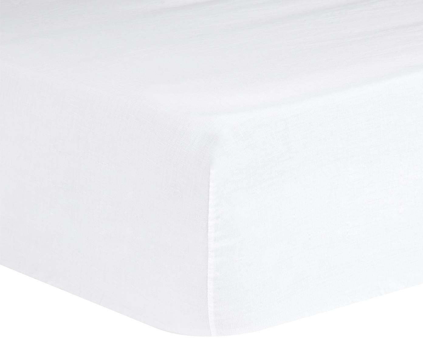 Prześcieradło z gumką z lnu Nature, 52% len, 48% bawełna Z efektem sprania zapewniającym miękkość w dotyku, Biały, S 90 x D 200 cm