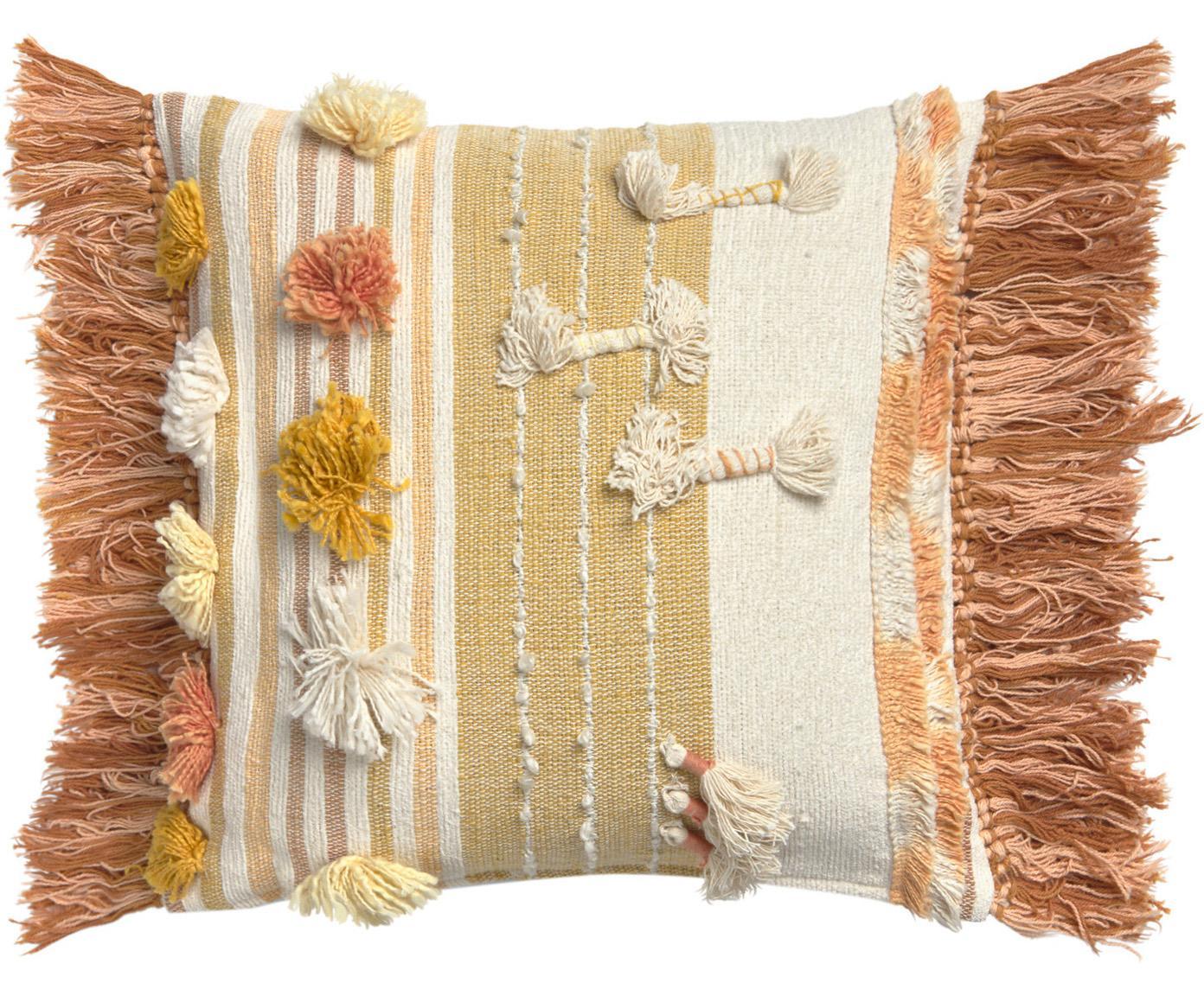 Federa arredo boho con frange e decori Colors, 100% cotone, Multicolore, Larg. 45 x Lung. 45 cm