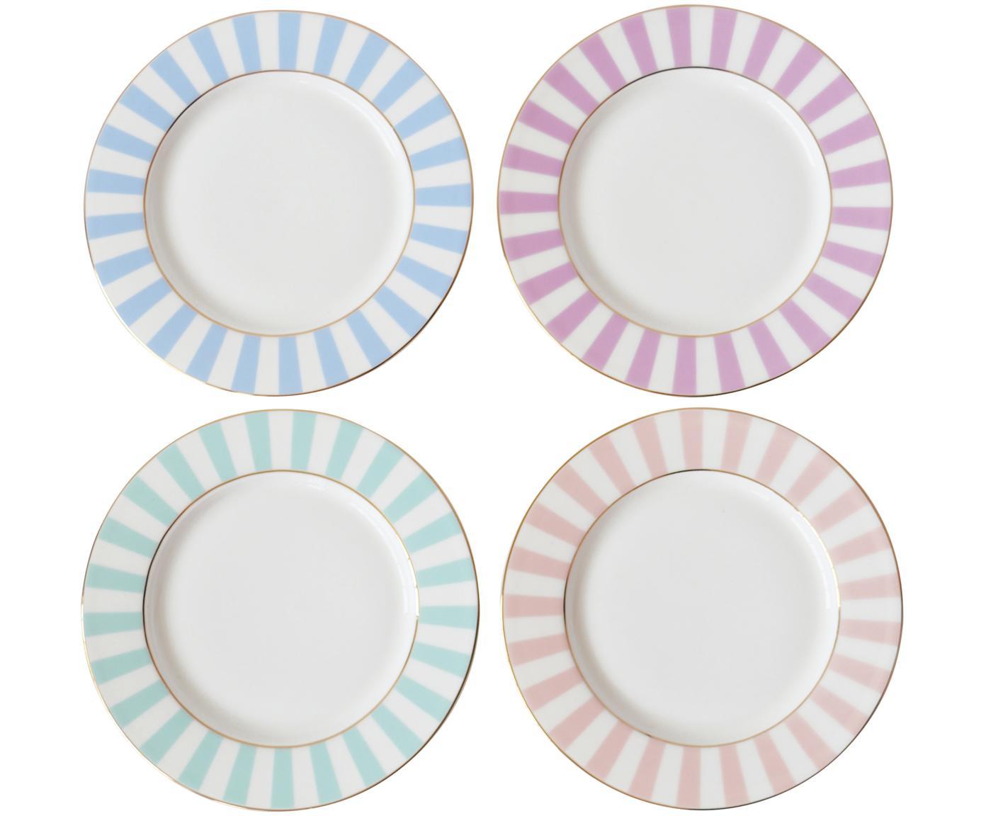 Set 4 piatti da colazione Stripy, Porcellana cinese, Multicolore, Ø 19 cm