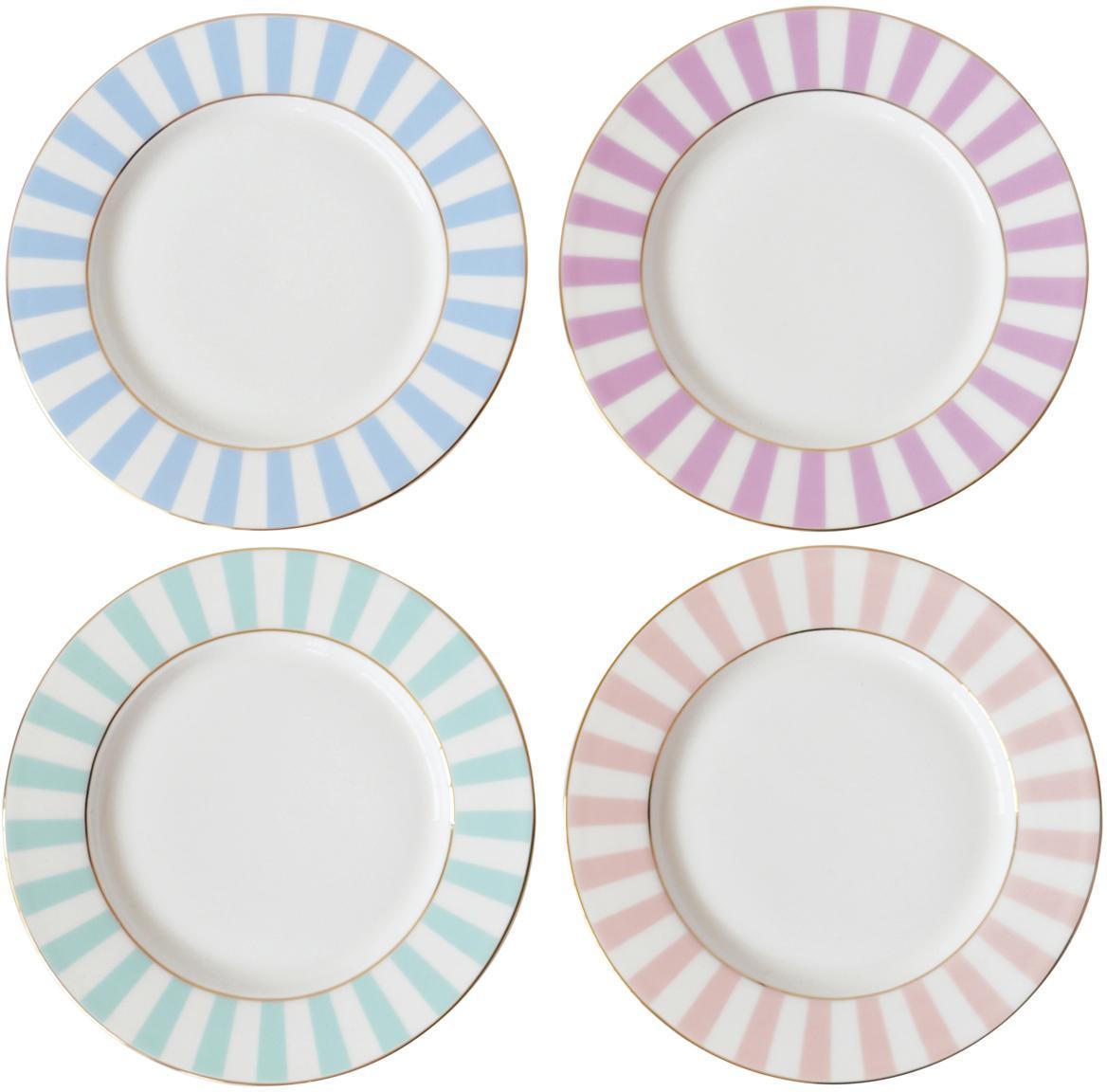Frühstücksteller Stripy mit Streifendekor in Pastelltönen, 4er-Set, Bone China, Mehrfarbig, Ø 19 cm