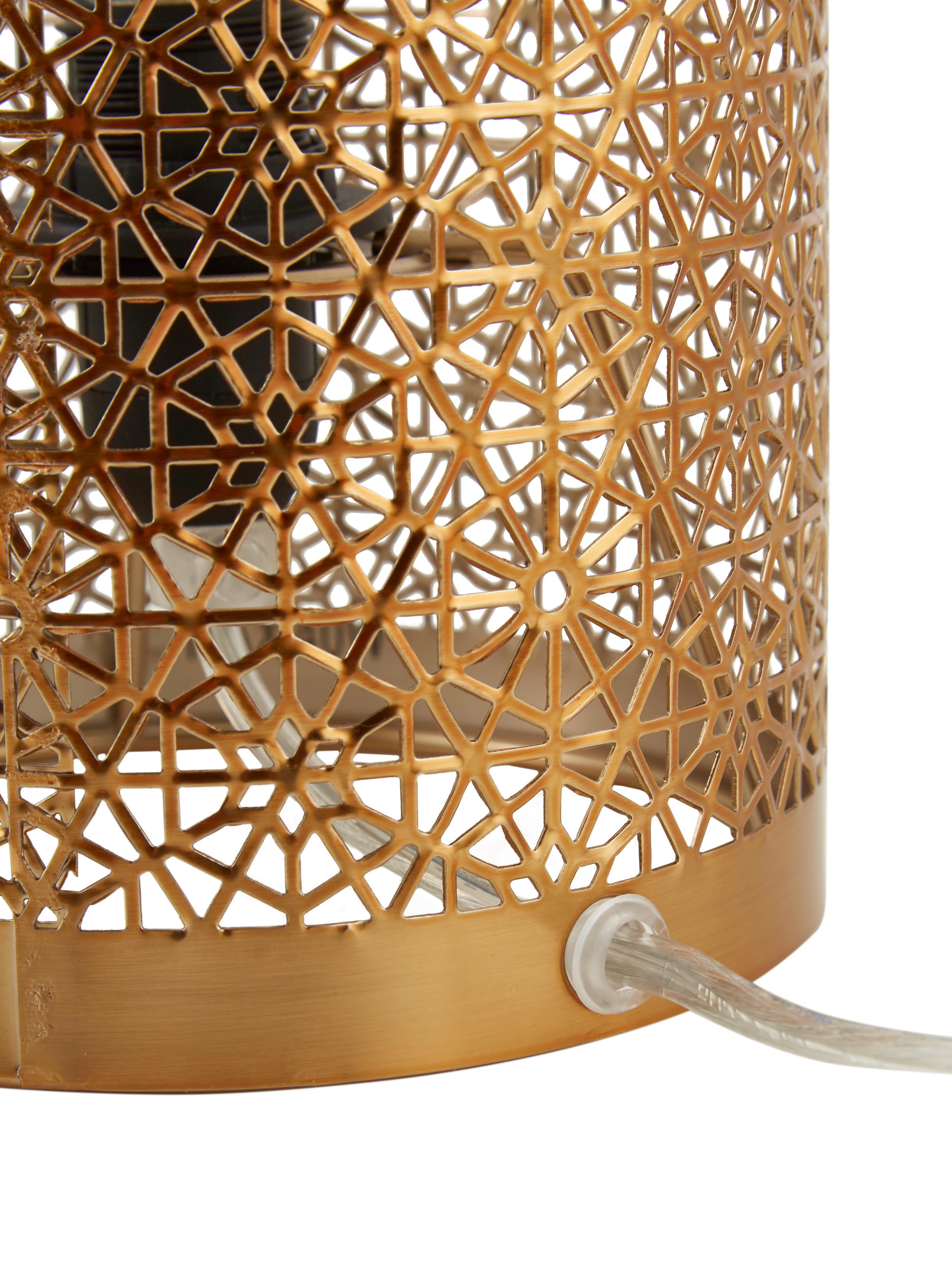 Boho-Tischlampe Hermine aus Metall, Lampenschirm: Messing, Messing, matt, Ø 14 x H 28 cm