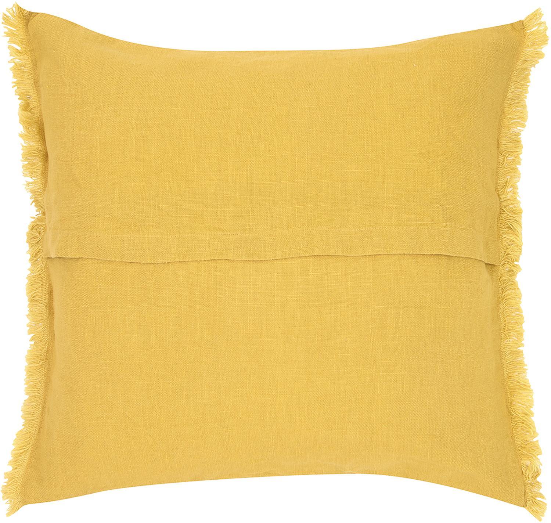 Federa arredo in lino con frange Luana, Lino, Giallo, Larg. 50 x Lung. 50 cm