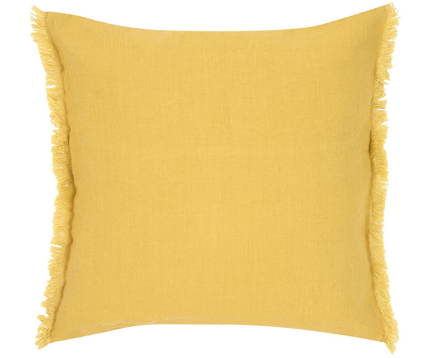 Leinen-Kissenhülle Luana mit Fransen, 100% Leinen, Gelb, 50 x 50 cm