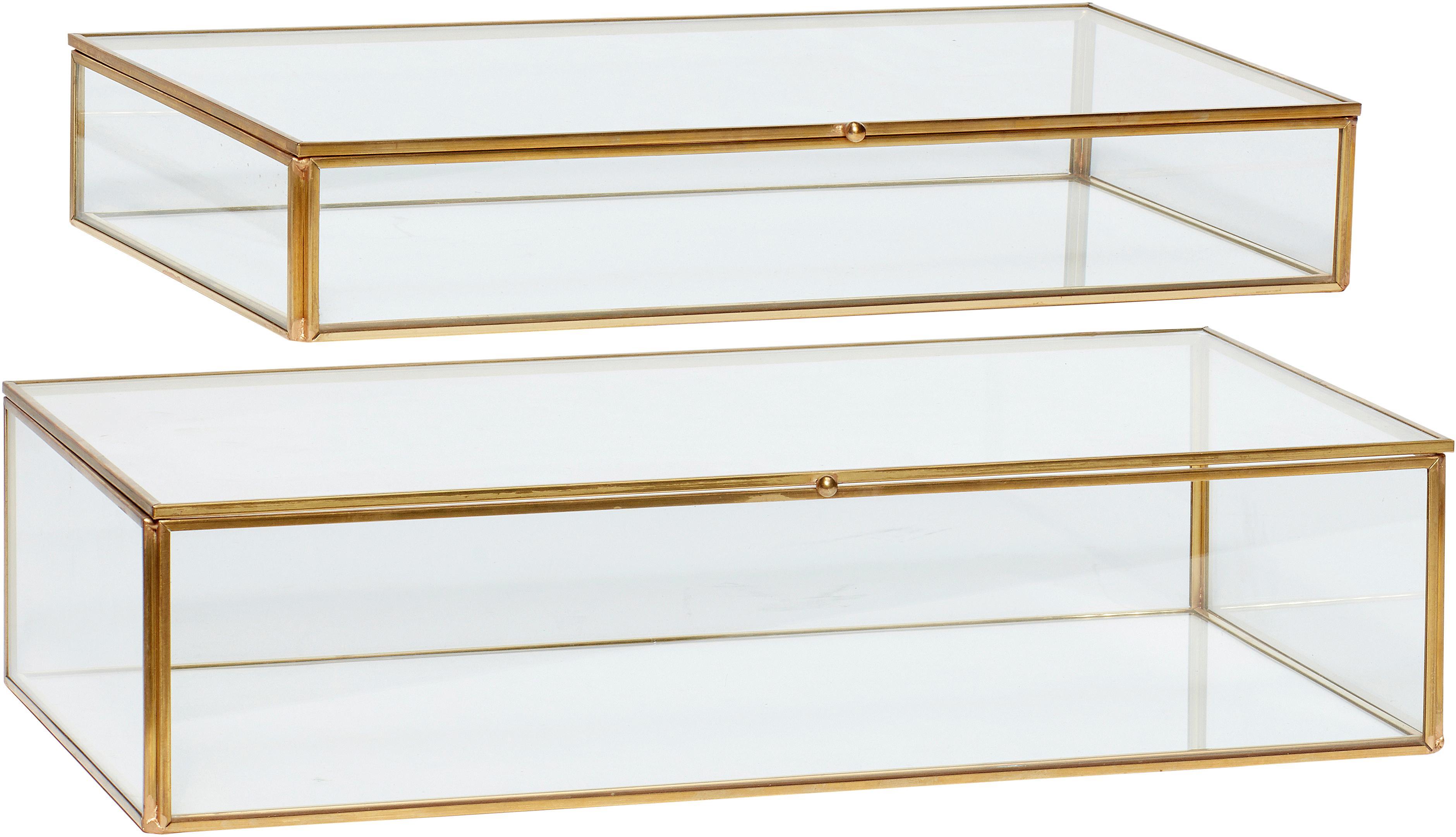 Aufbewahrungsboxen-Set Karia, 2-tlg., Rahmen: Messing, Box: Glas, Messing, Transparent, Set mit verschiedenen Grössen